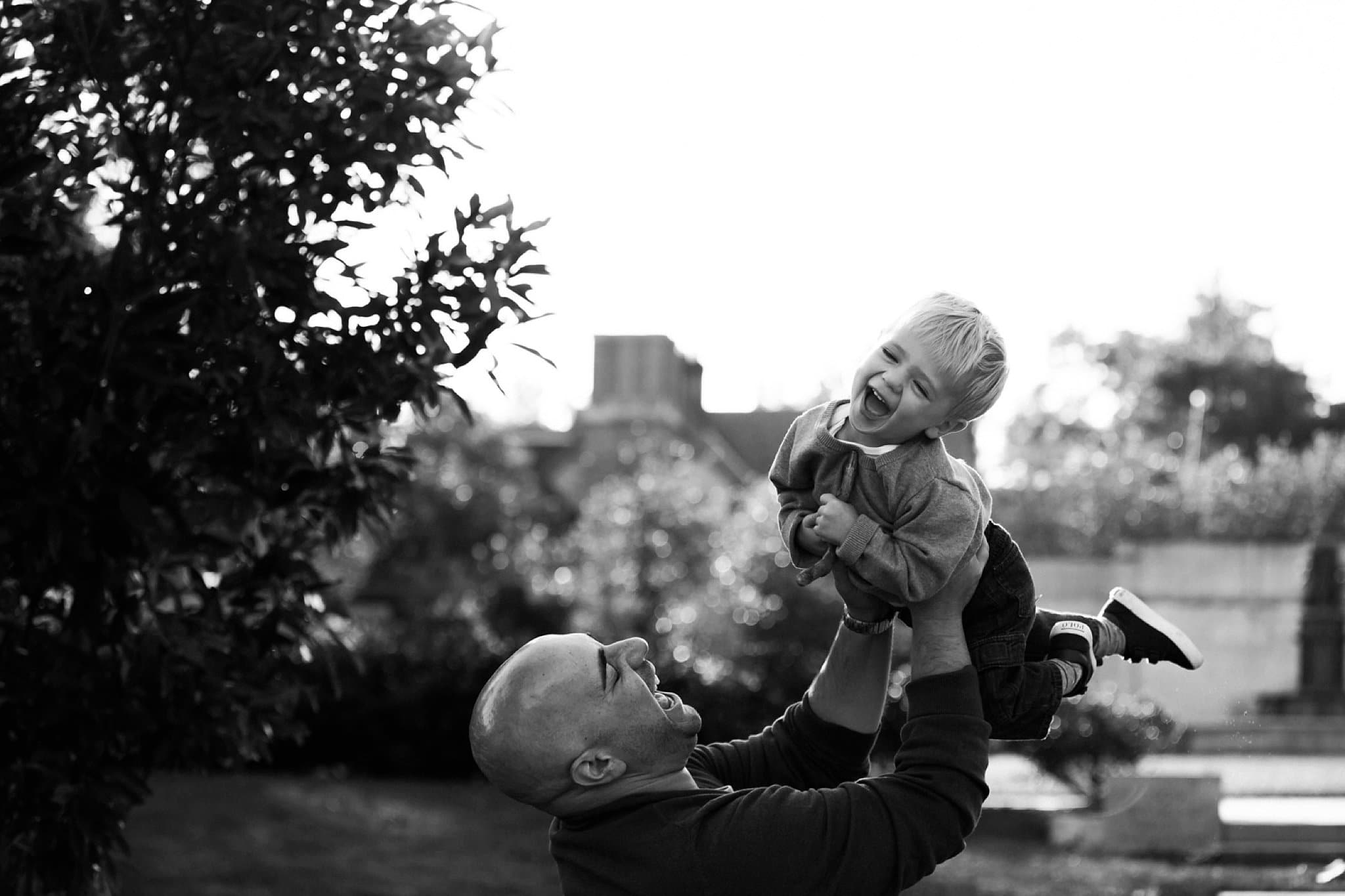 Photo of father and child at mellon park in pittsburgh pa
