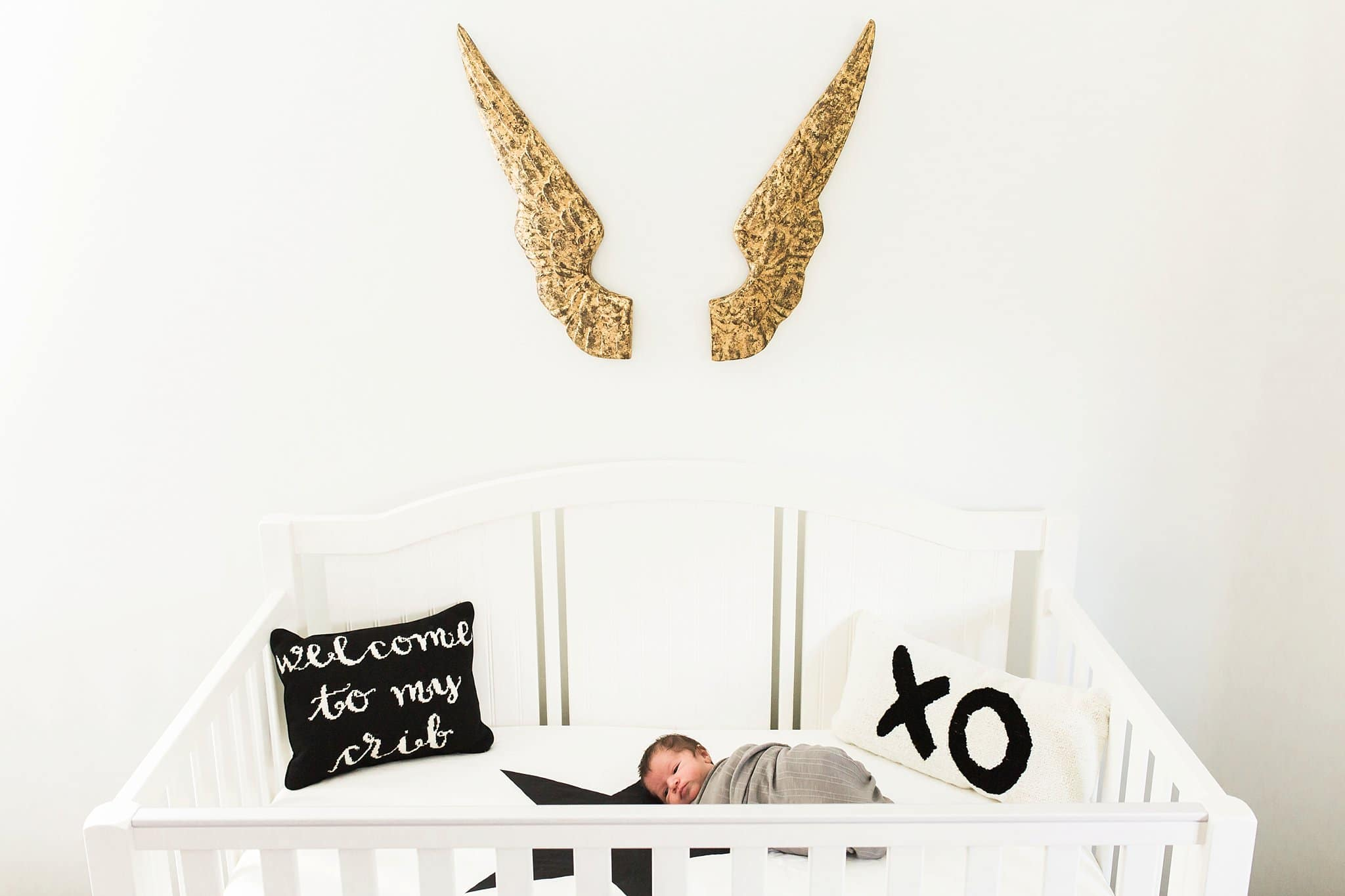Newborn in crib with pottery barn pillows and restoration hardware wings