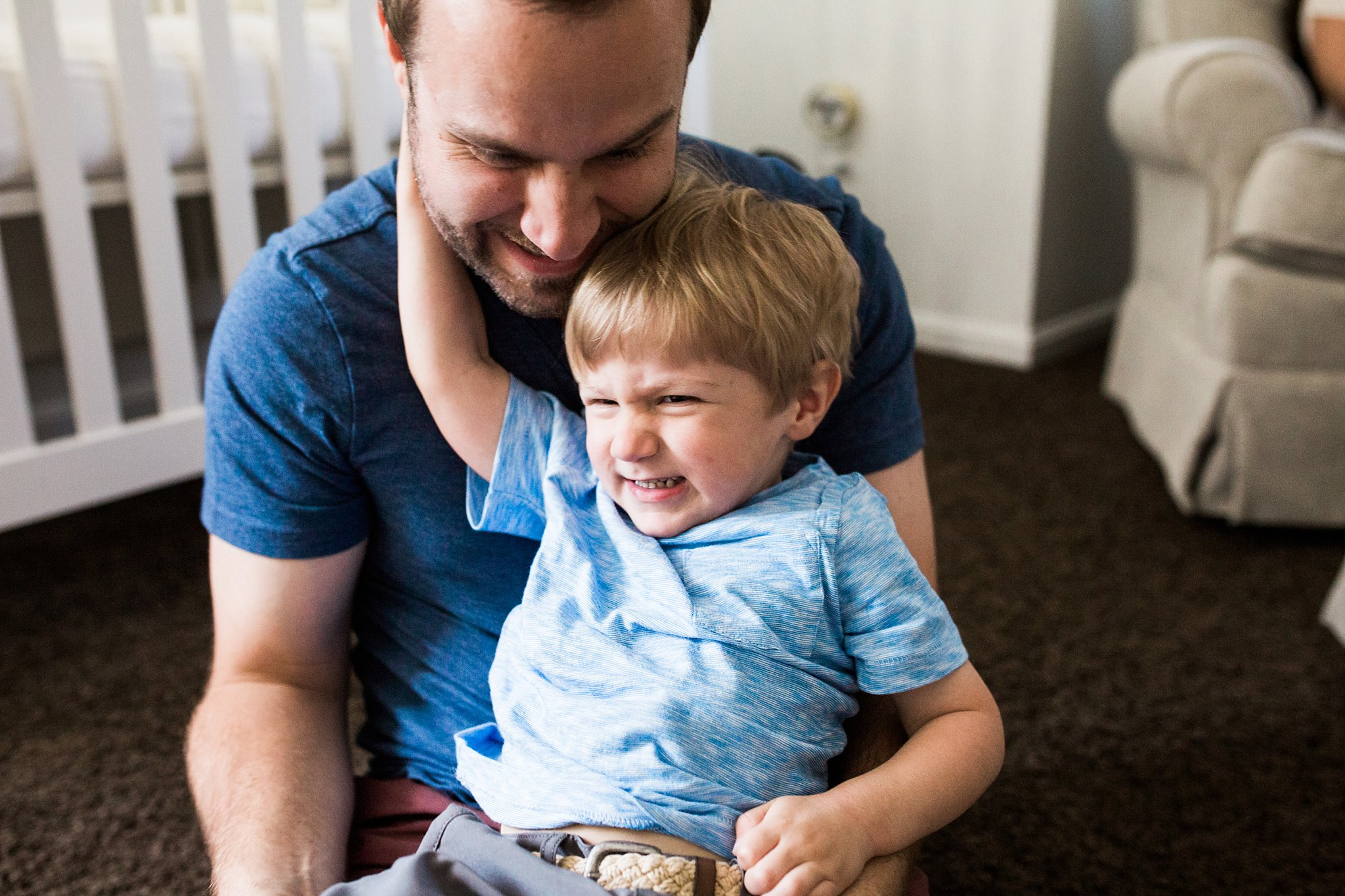 father and son in home photo