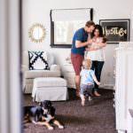 lifestyle family photos in beautiful nursery