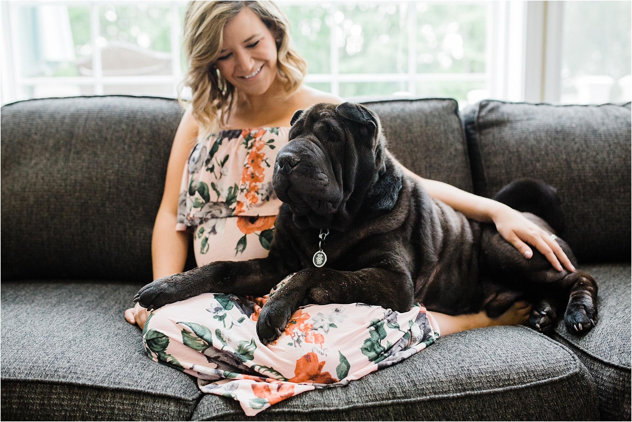 In home maternity photos with puppy pittsburgh