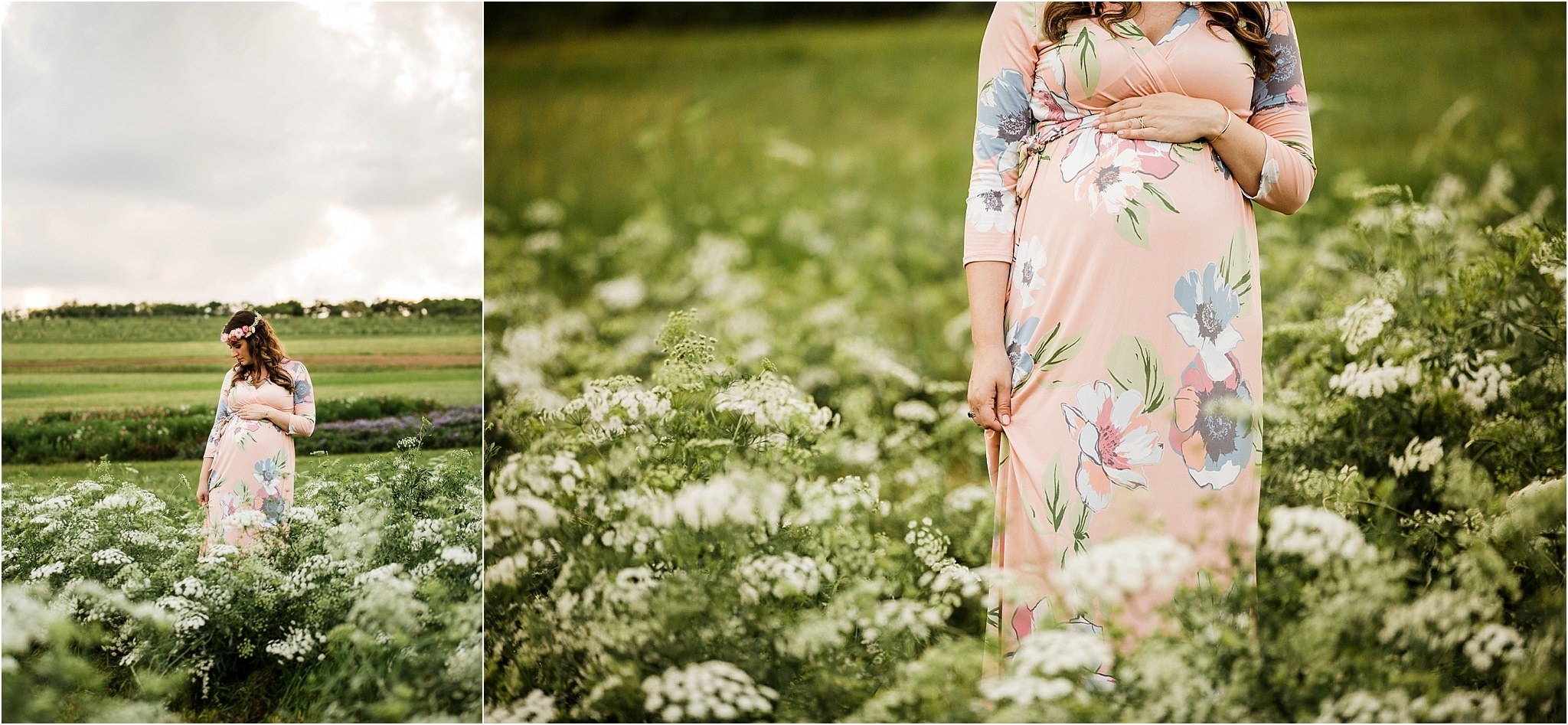 gorgeous pregnant woman in field of flowers