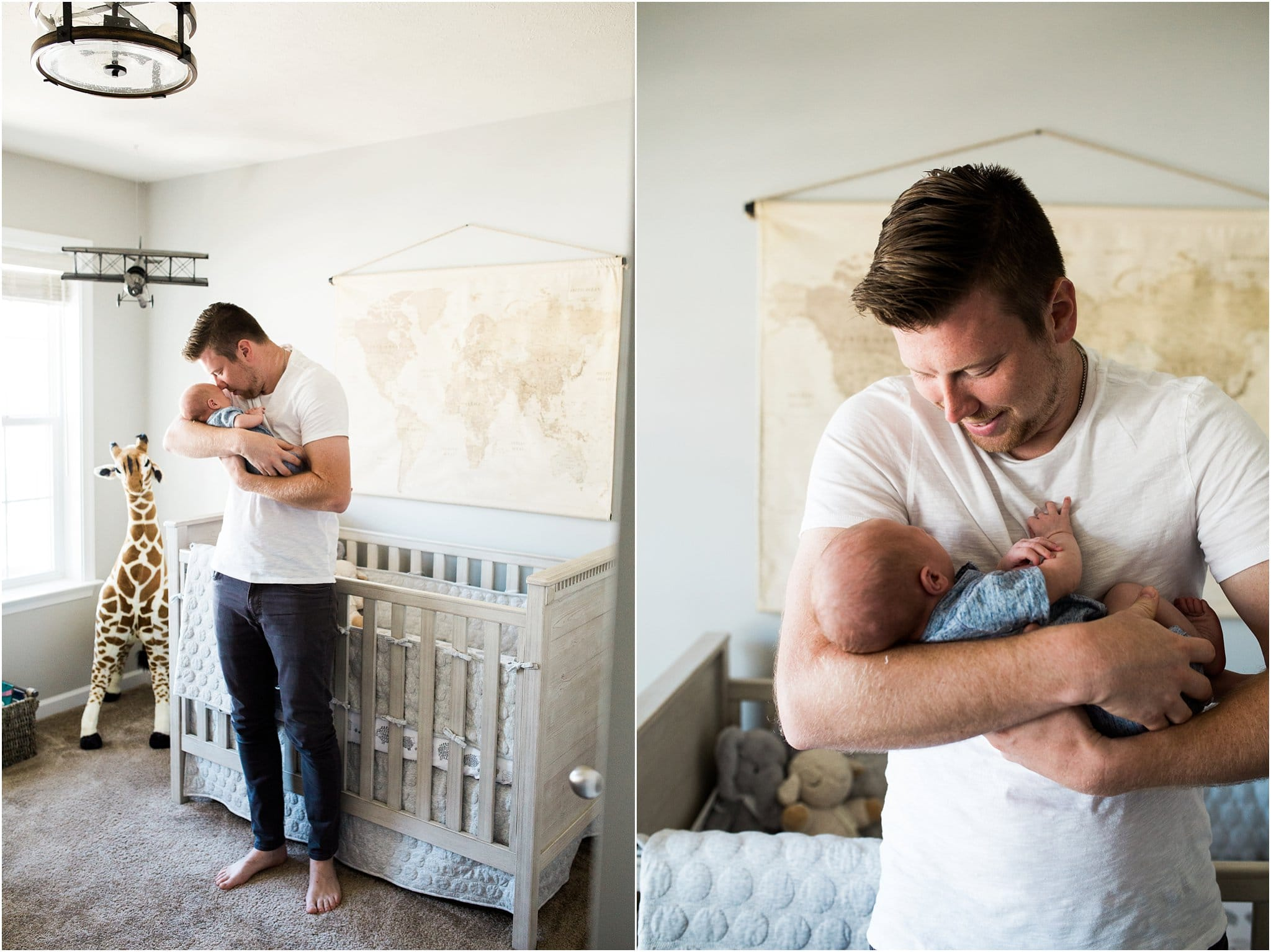father and newborn son in neutral travel themed nursery