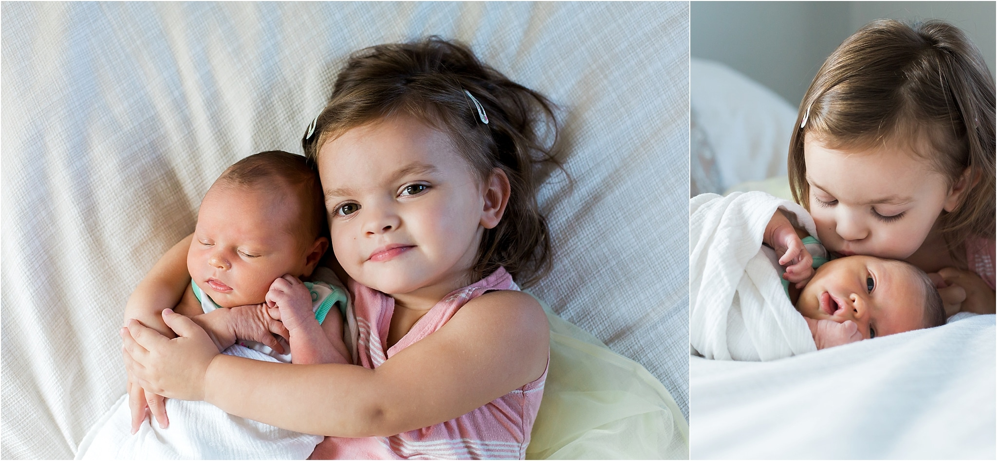 photos of toddler big sister and newborn girl on bed of home