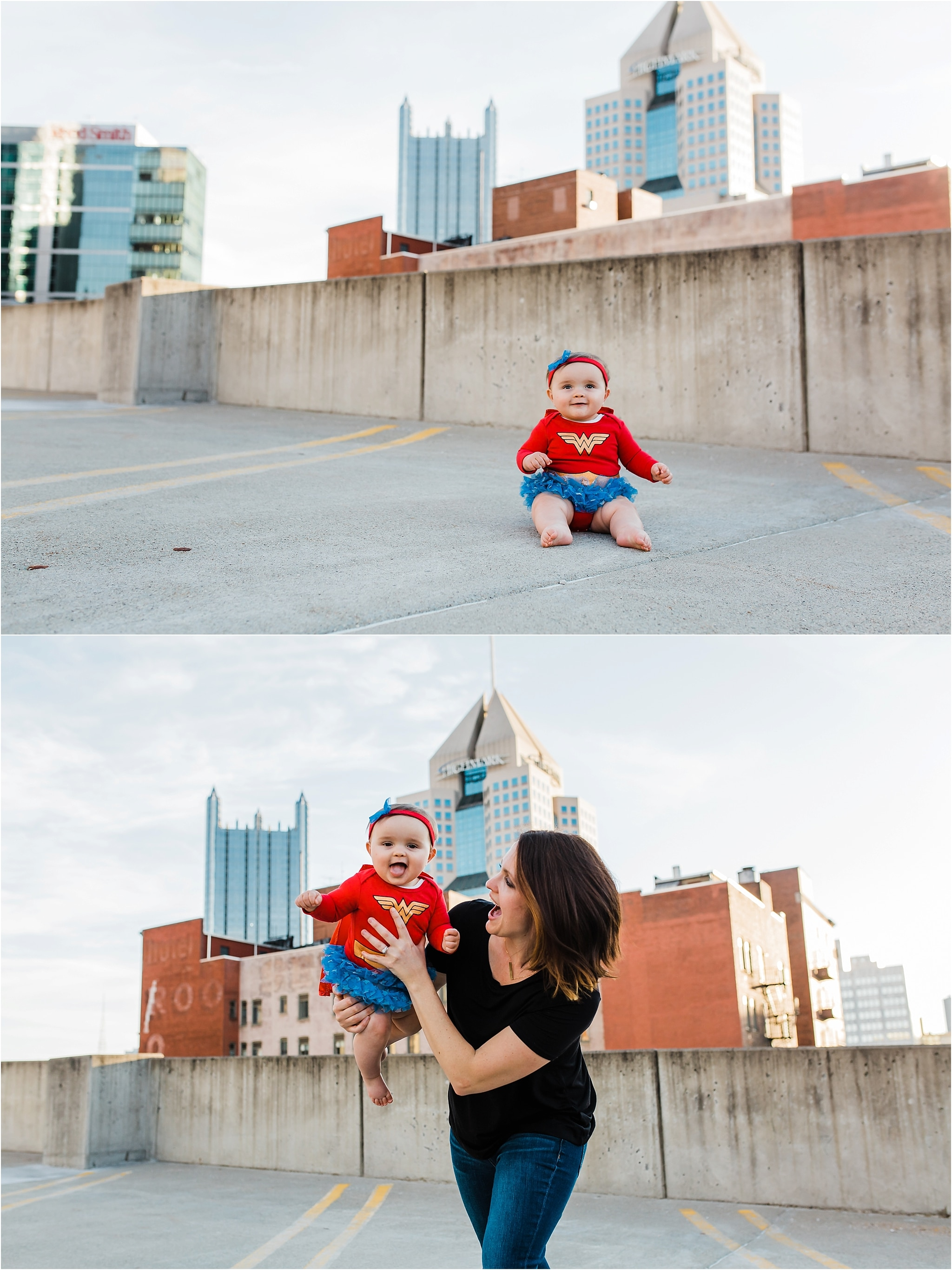 baby wonder woman in front of pittsburgh city skyline