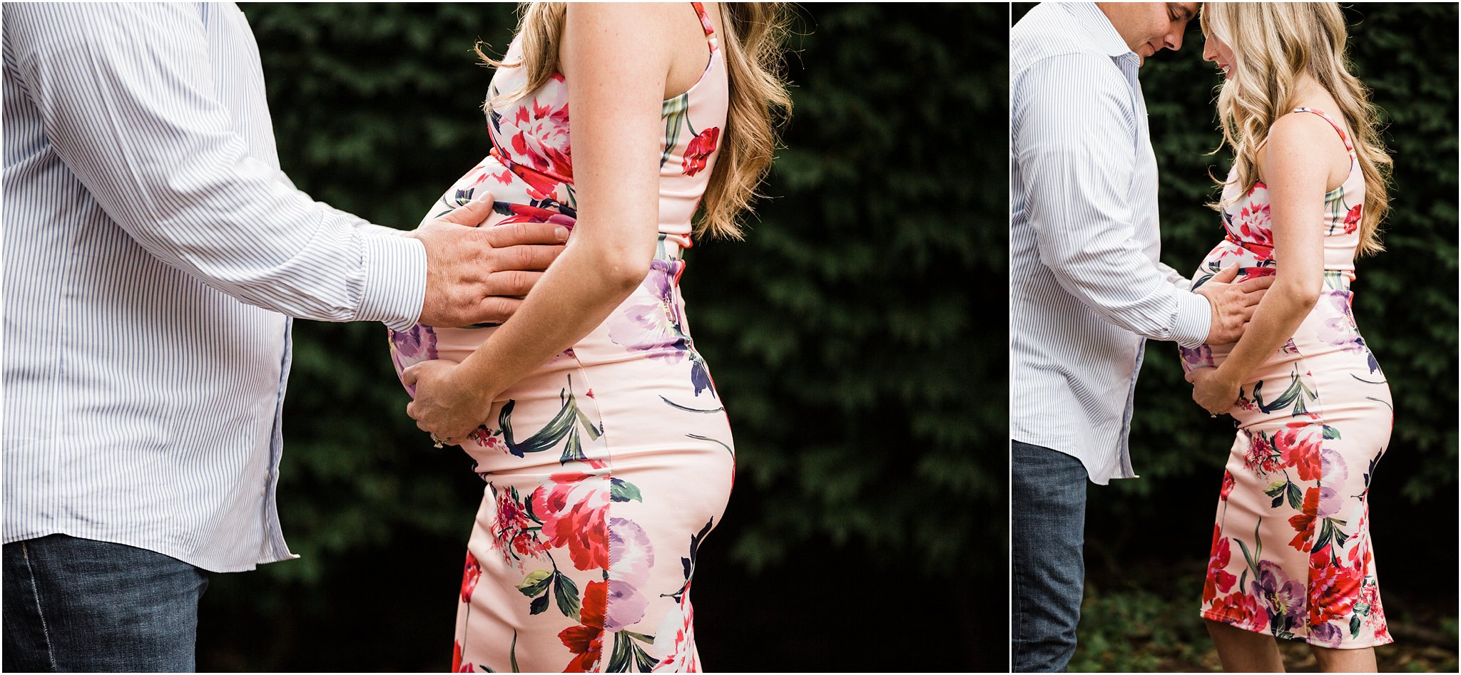 floral maternity dress bump photos with husband