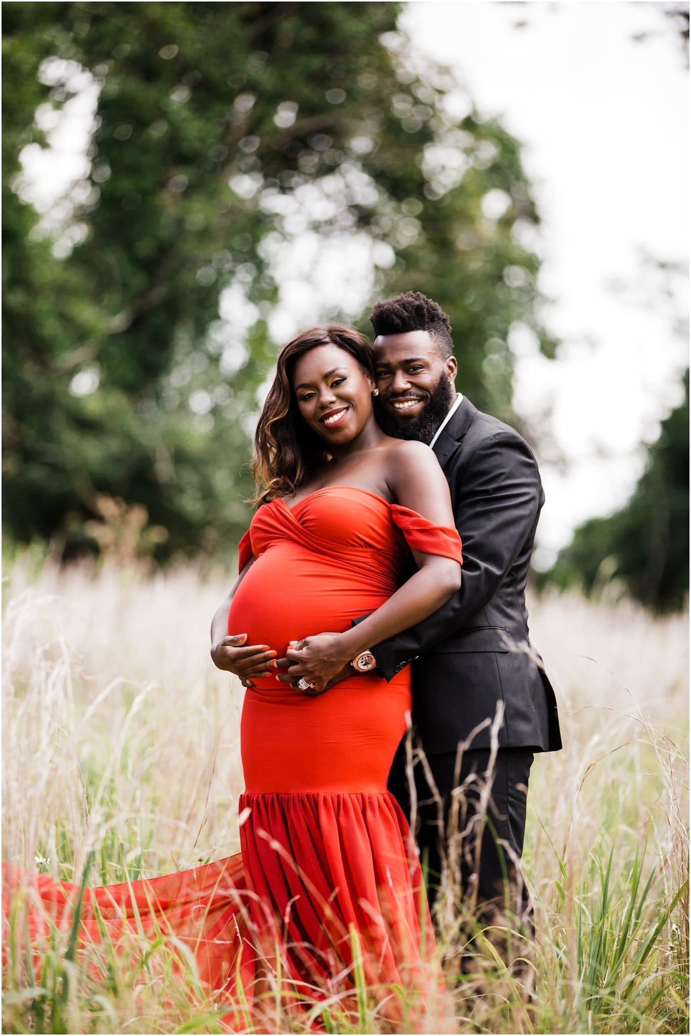 Glam red dress maternity photos
