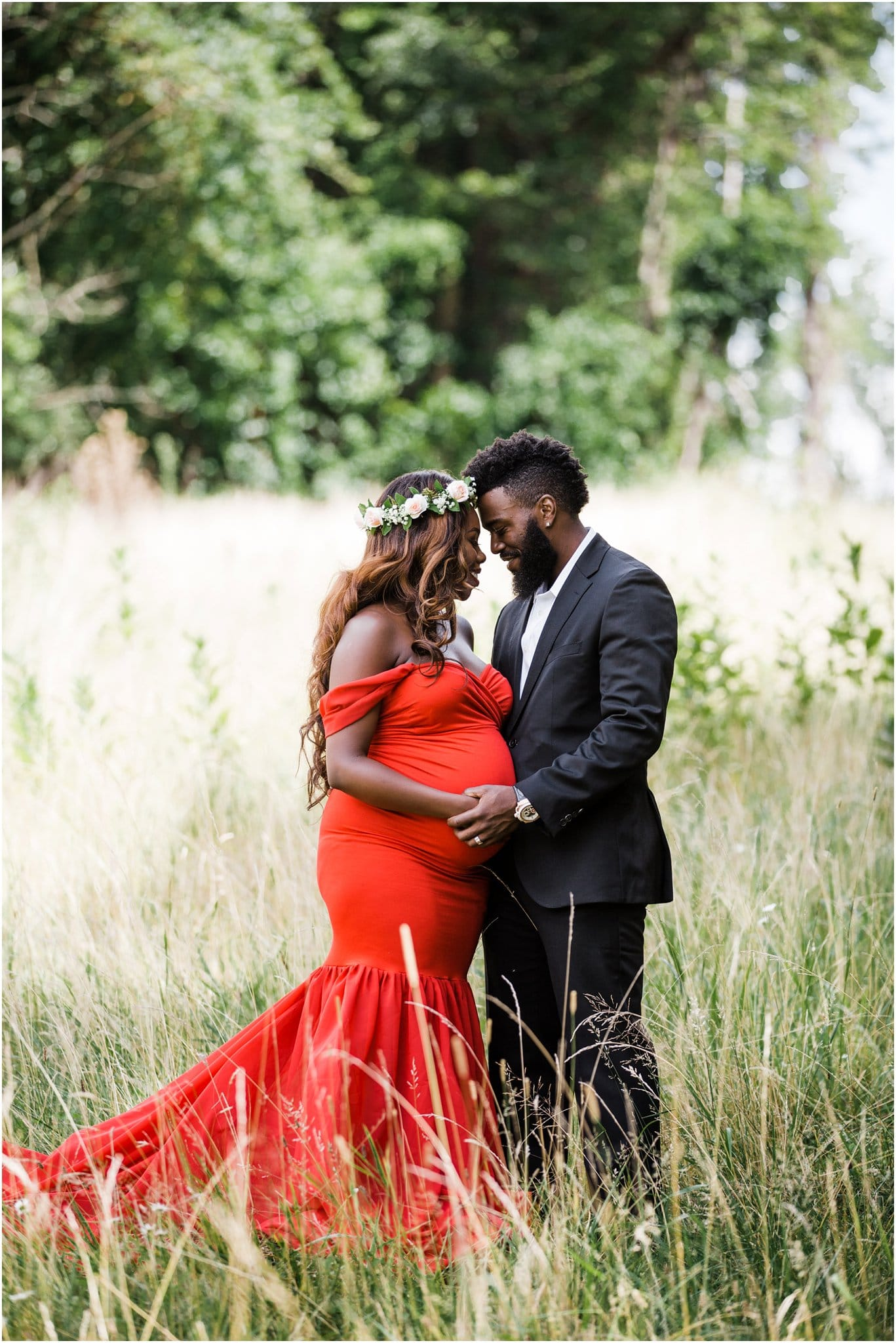 Glam red maternity dress and flower crown