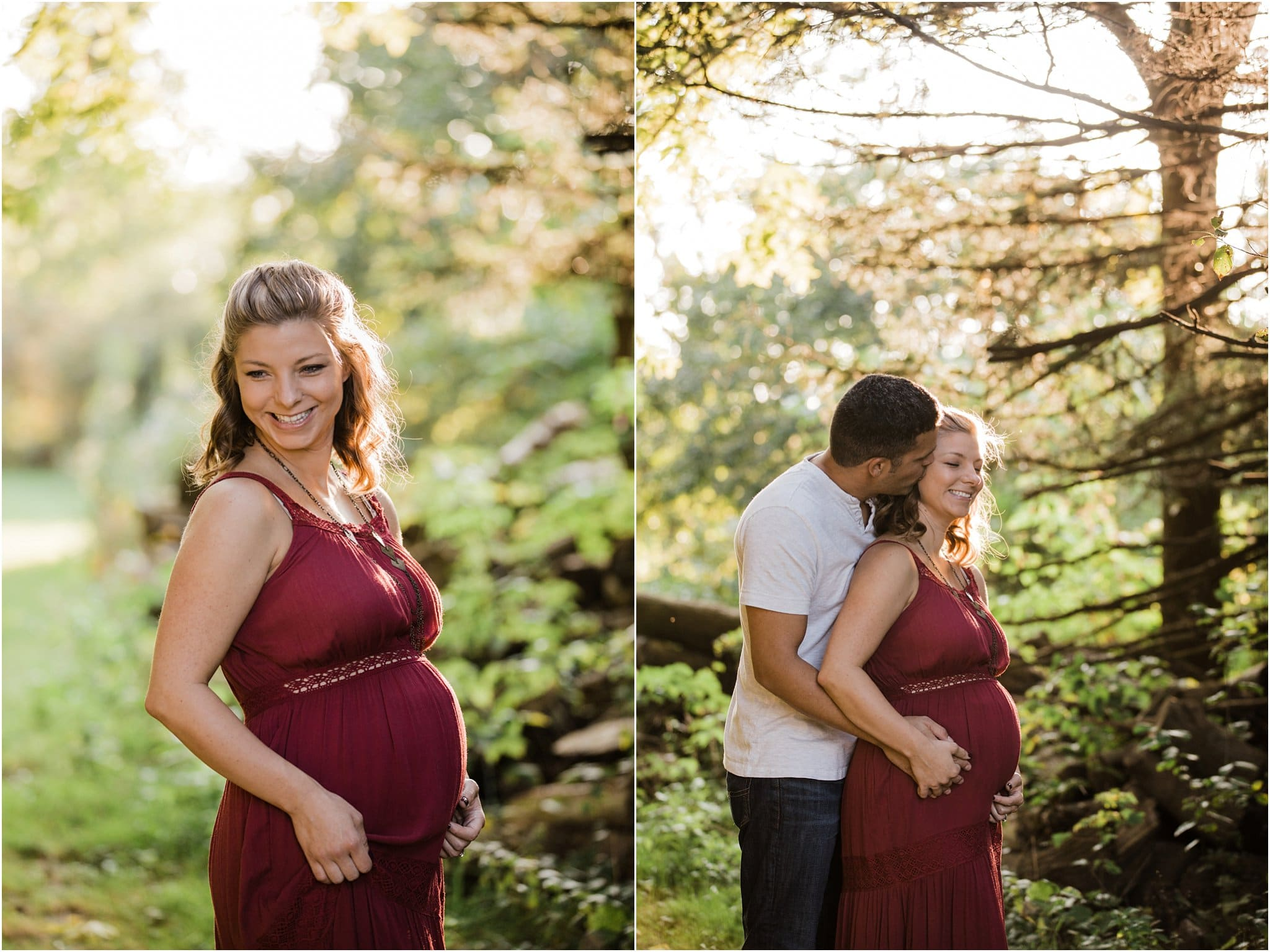 couples maternity photos at golden hour