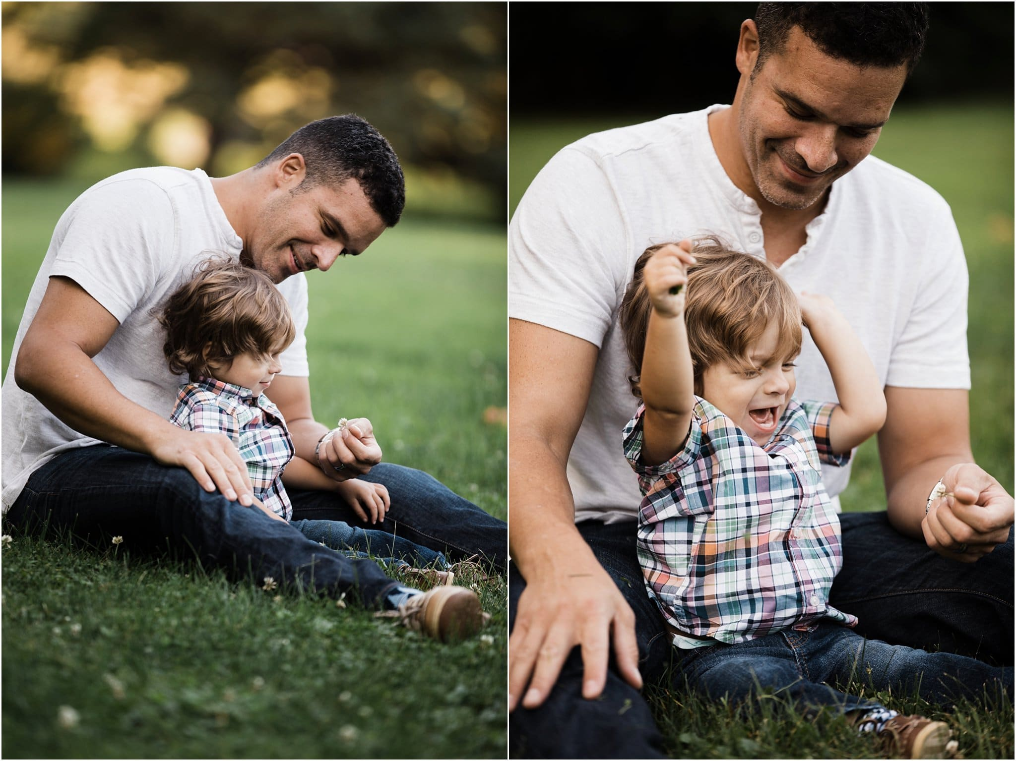 photos of father and son sitting and laughing