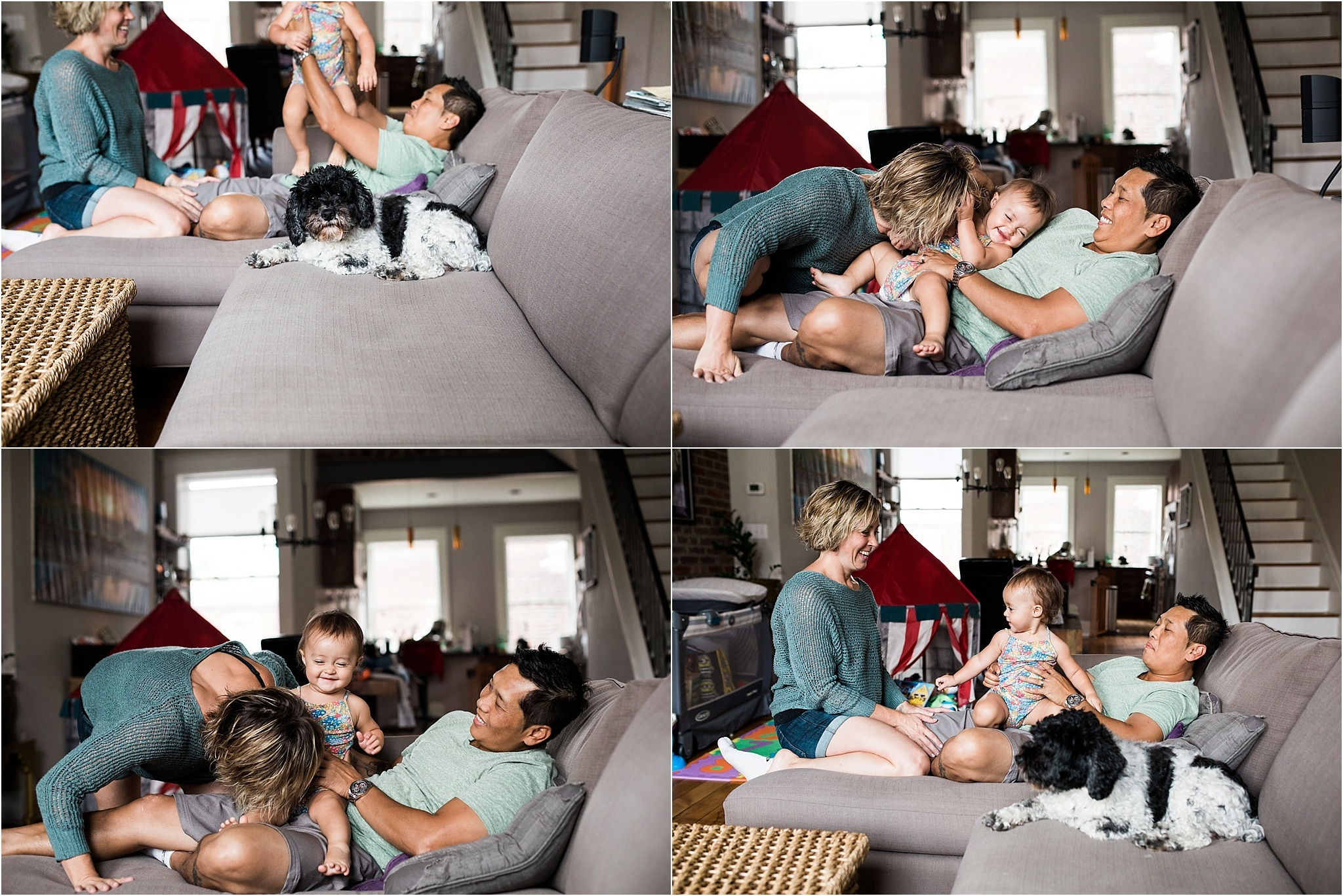 family snuggling and tickling on couch