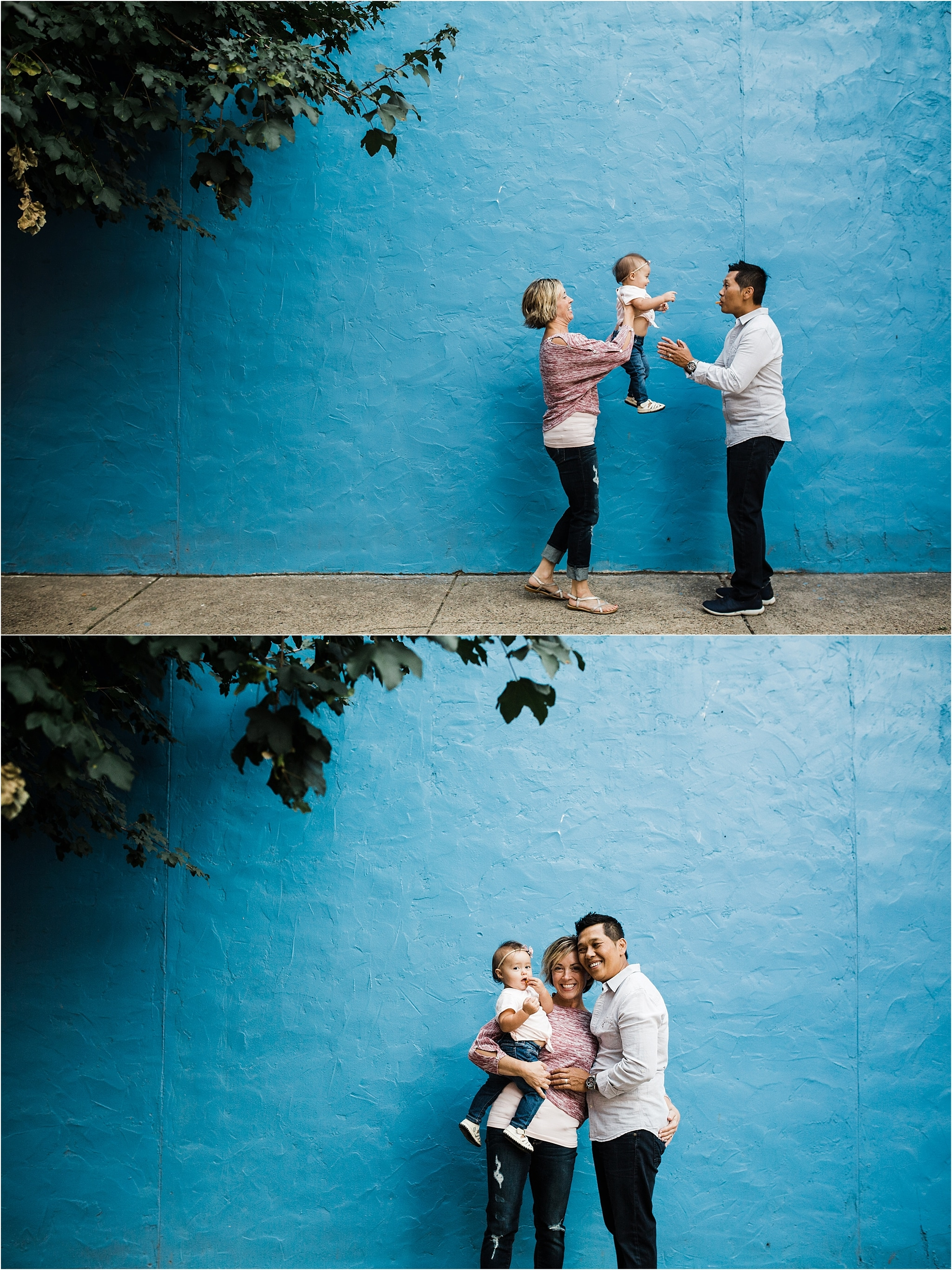family photos in front of blue brick wall in lawrenceville pittsburgh