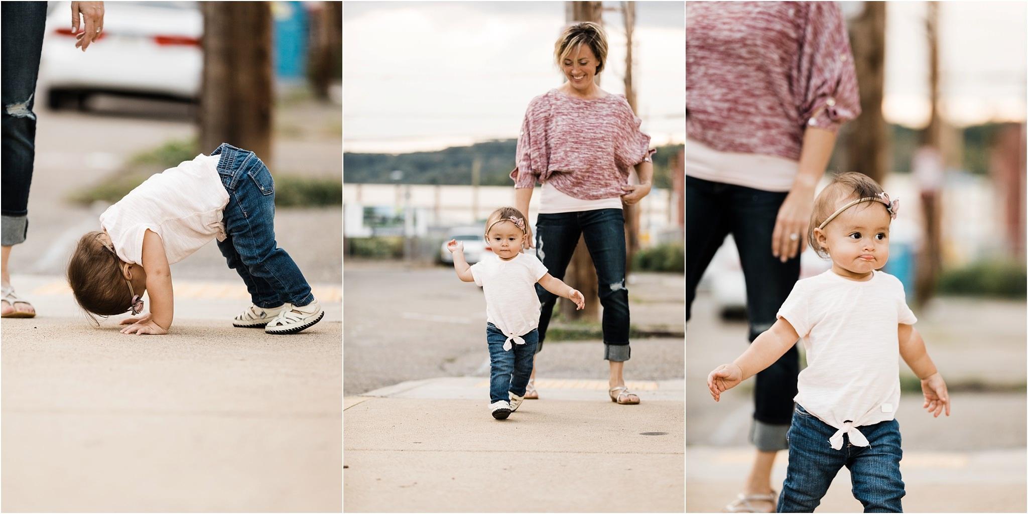 baby girl doing yoga and walking