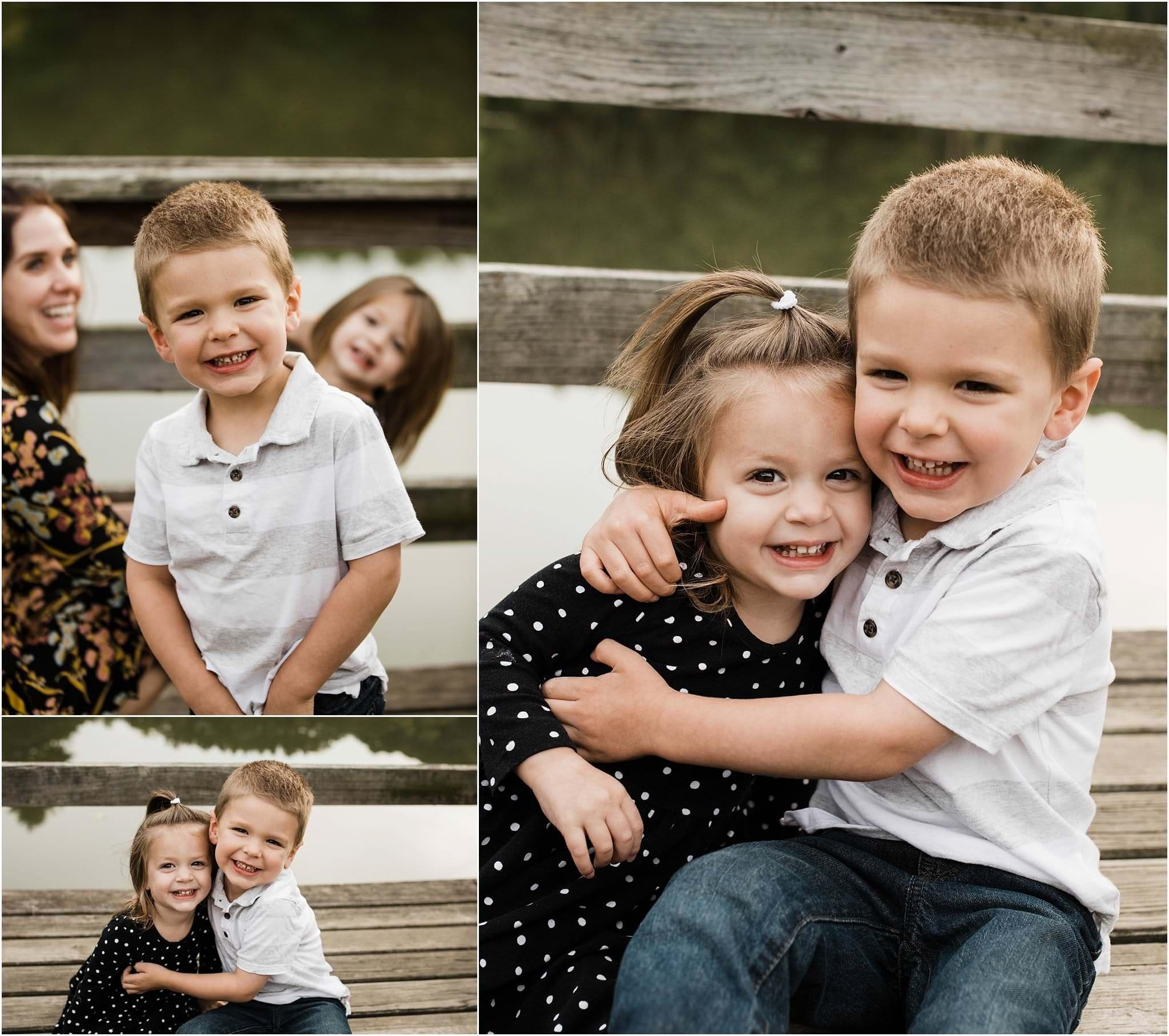 photos of siblings hugging and smiling
