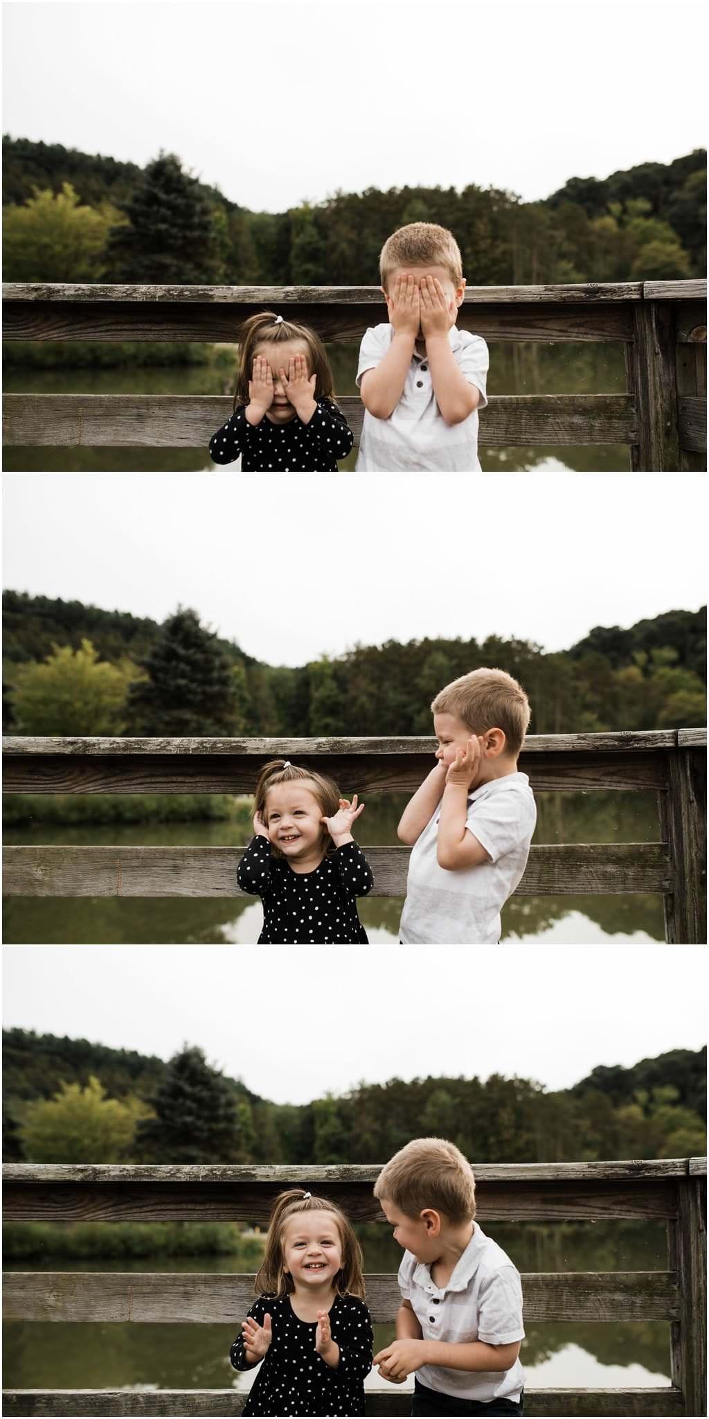photos of siblings playing peek-a-boo