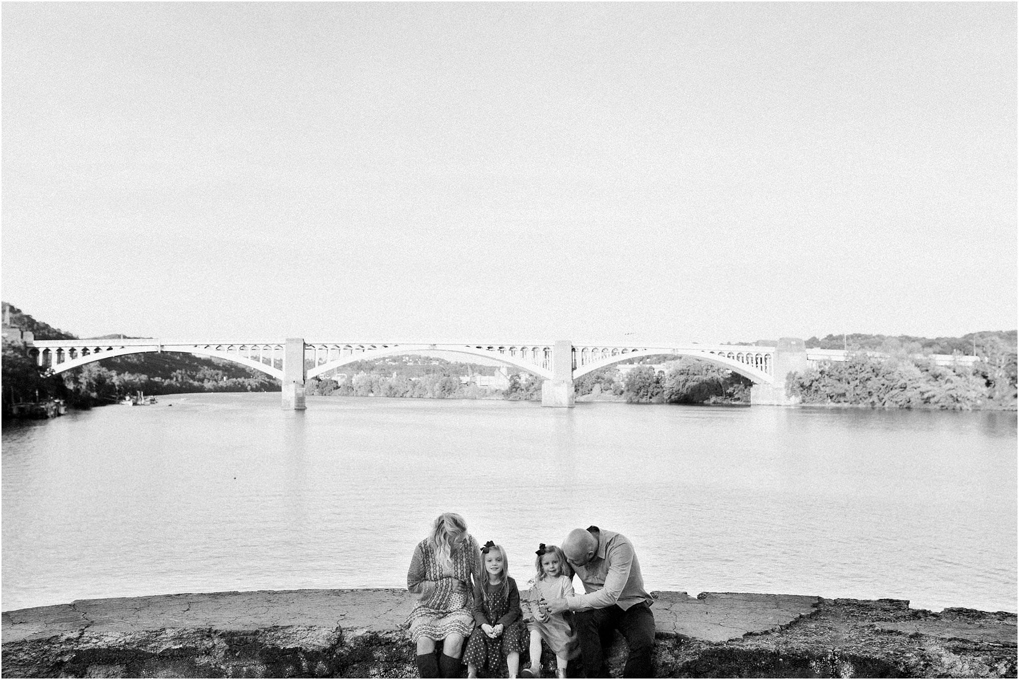 Family Photo at Washington's Landing Pittsburgh