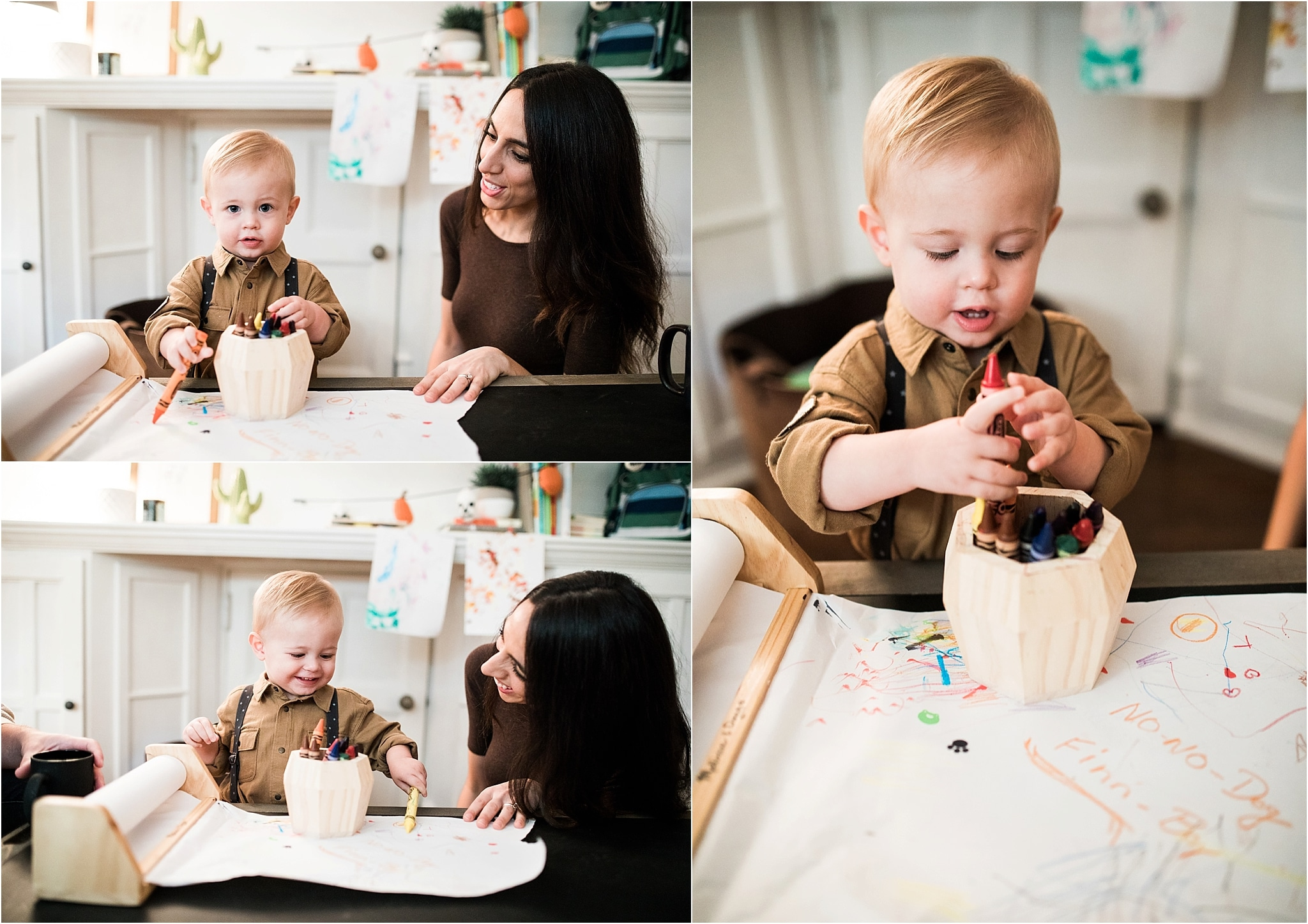 Parents coloring at home with child