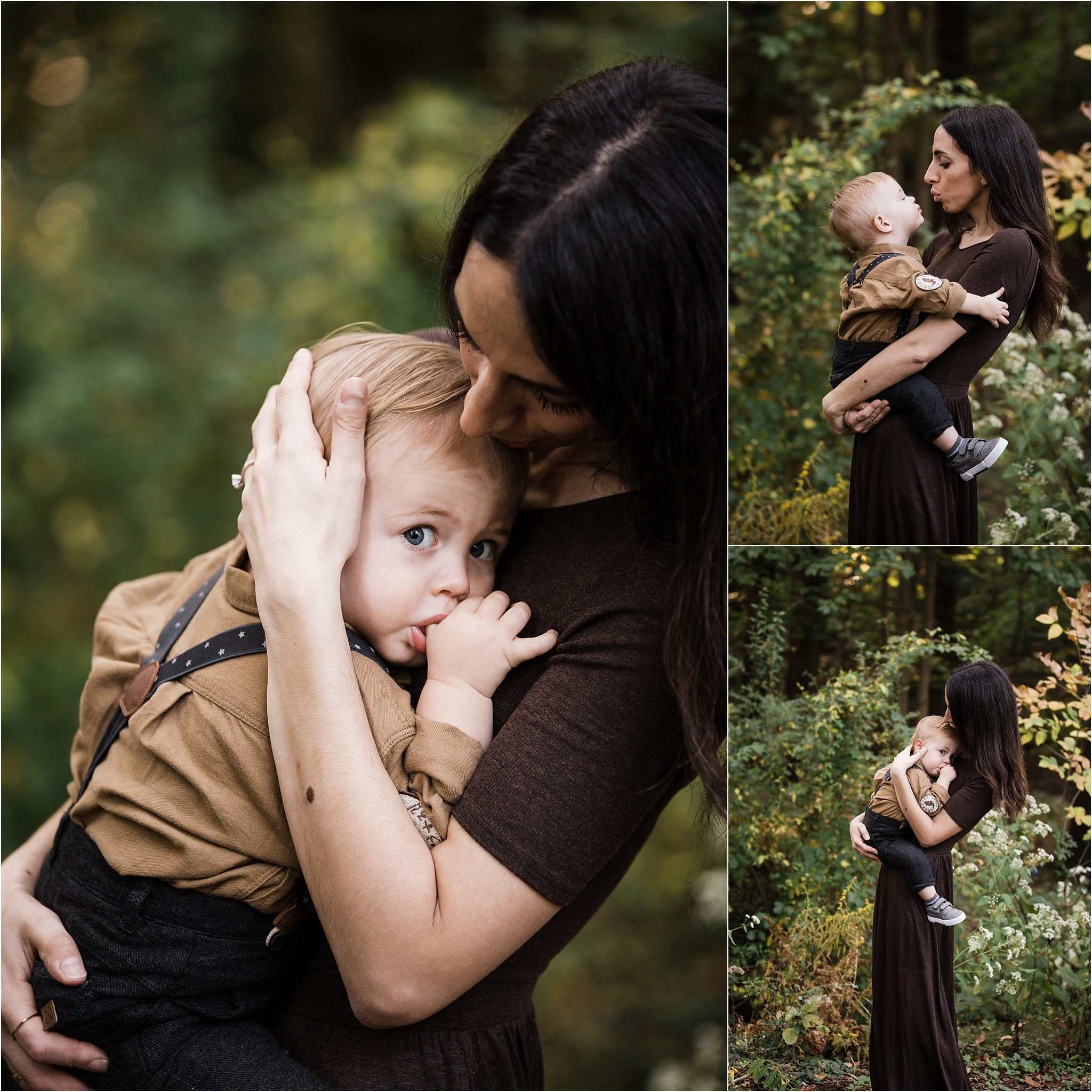 mother holding and kissing toddler boy