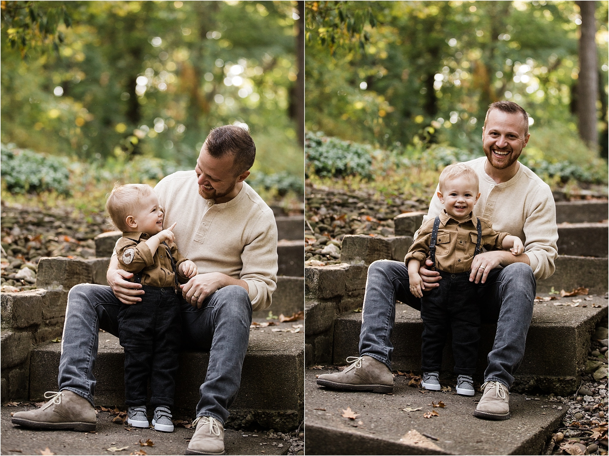 photos of father and son on steps of home