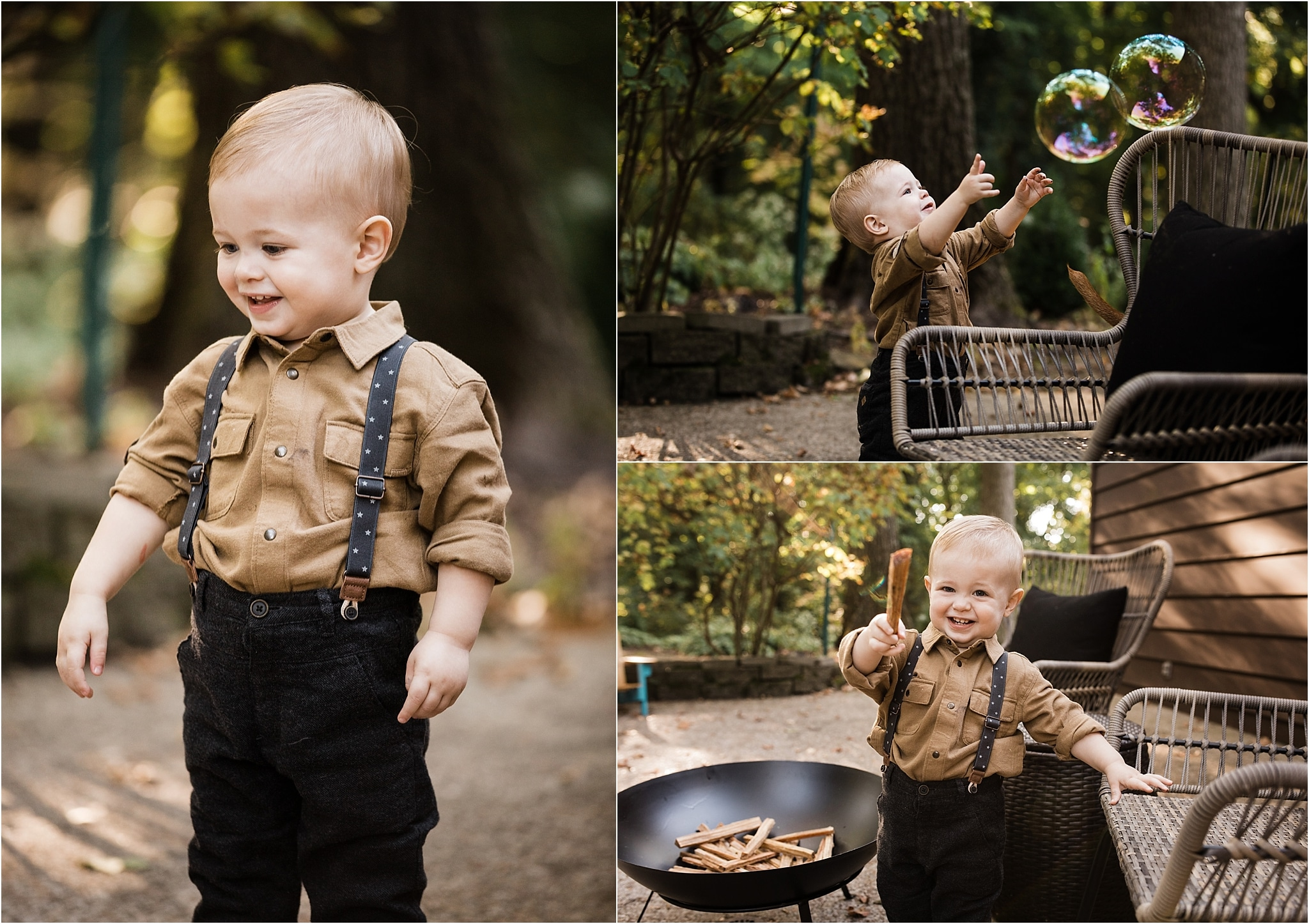 photos of one year old boy playing in the yard