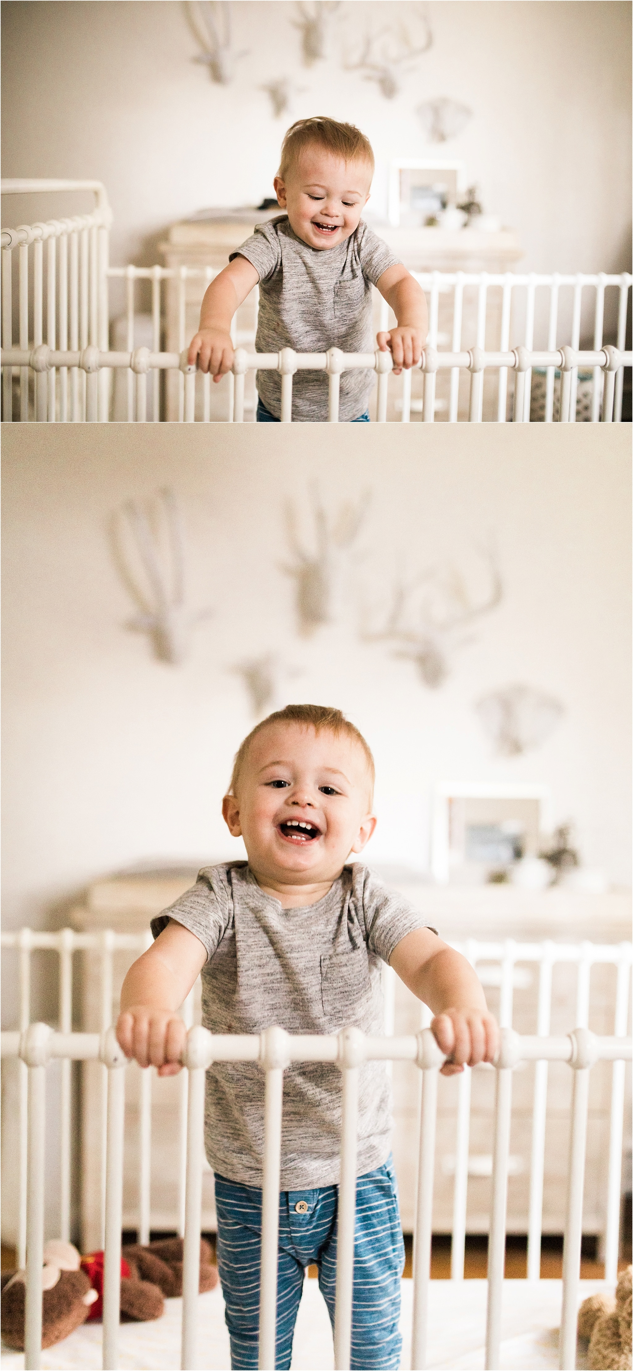 one year old boy jumping in crib