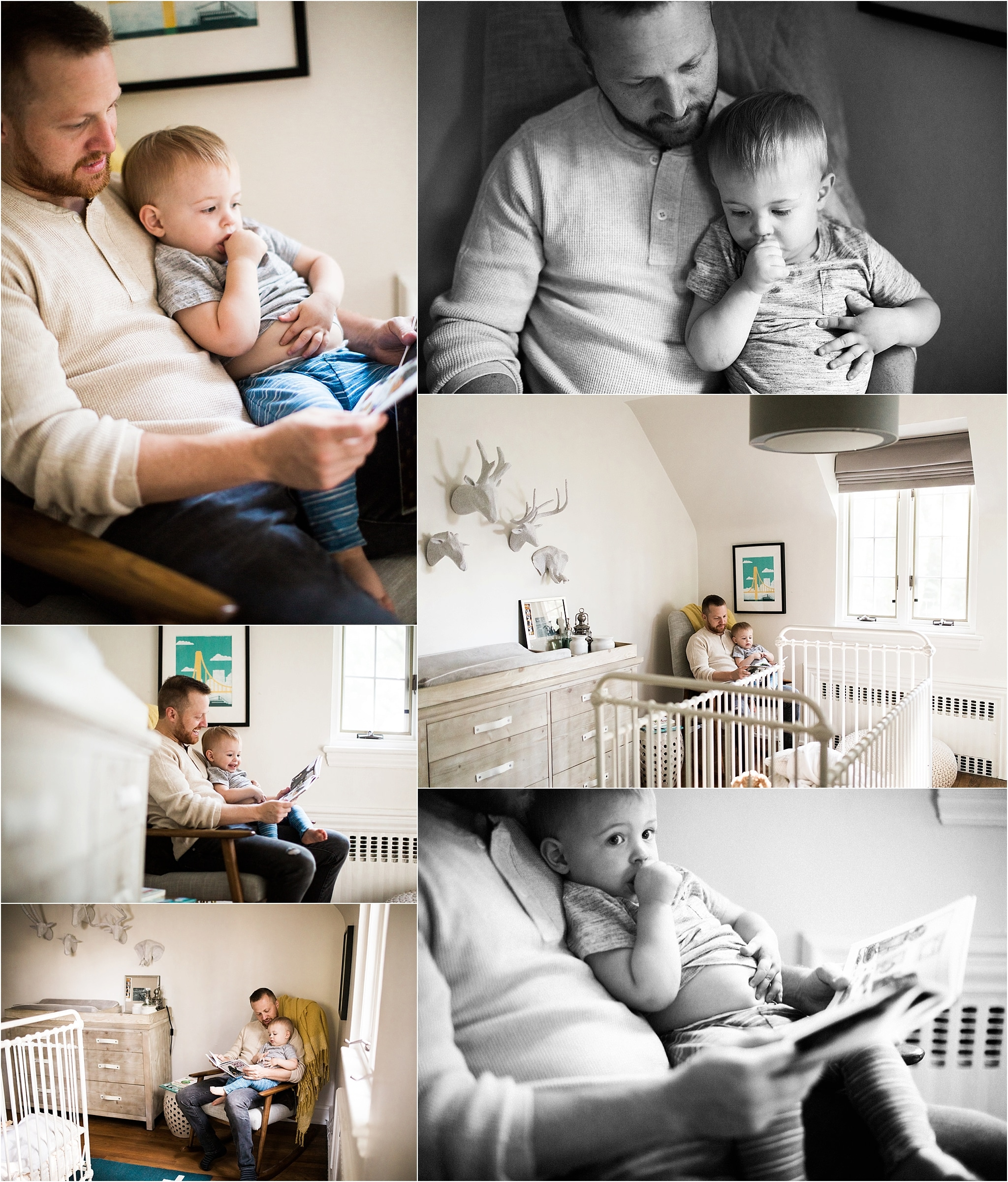 father and son reading in nursery
