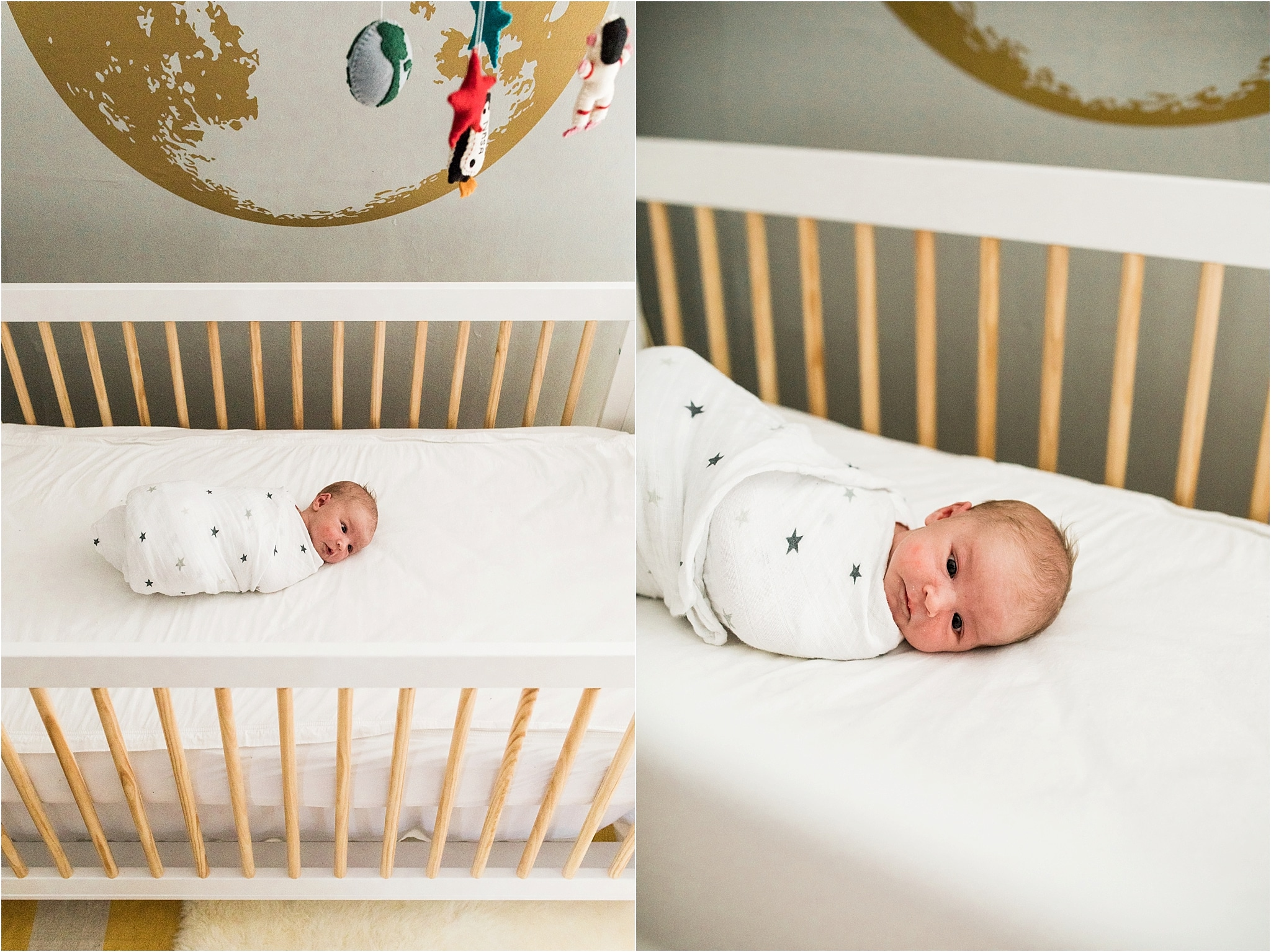 photos of newborn in crib with moon wall decal