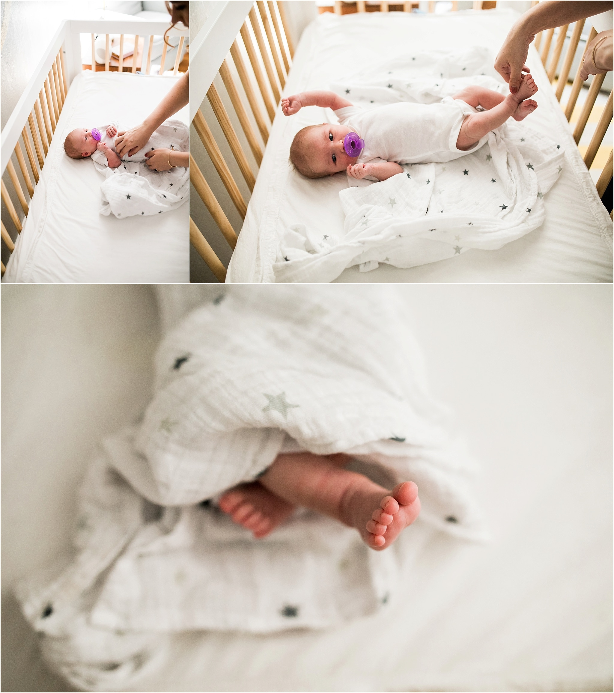 newborn baby stretching in nursery crib