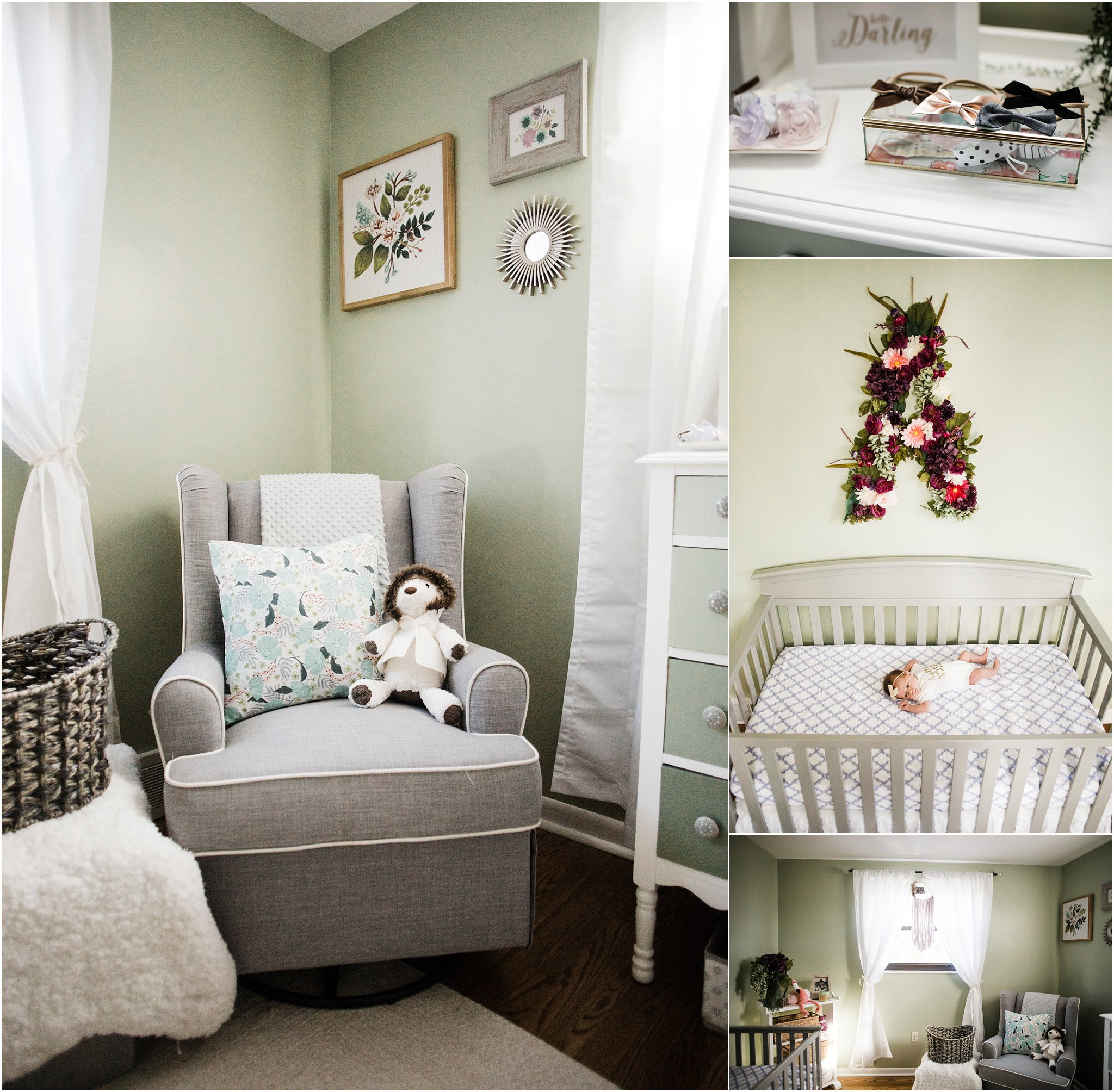 Floral and green and purple nursery decor
