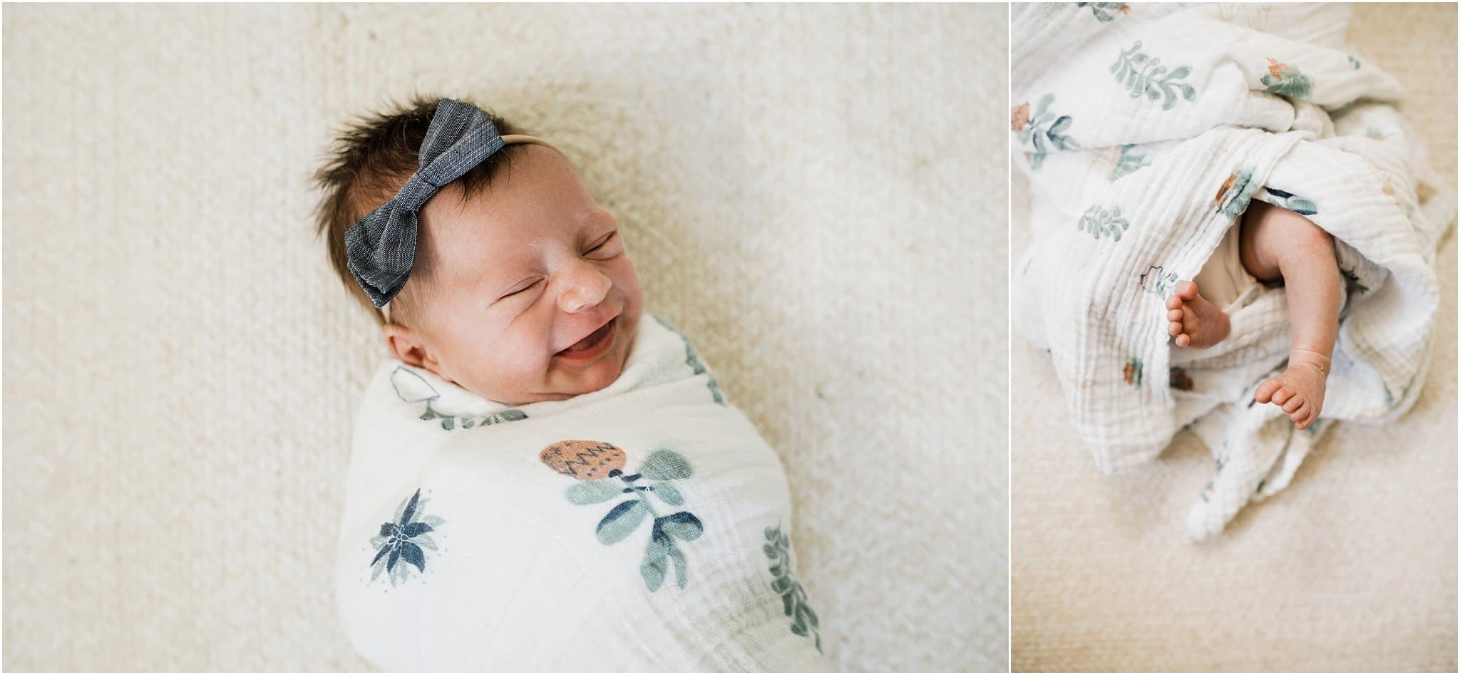 newborn baby girl in floral swaddle with toes out