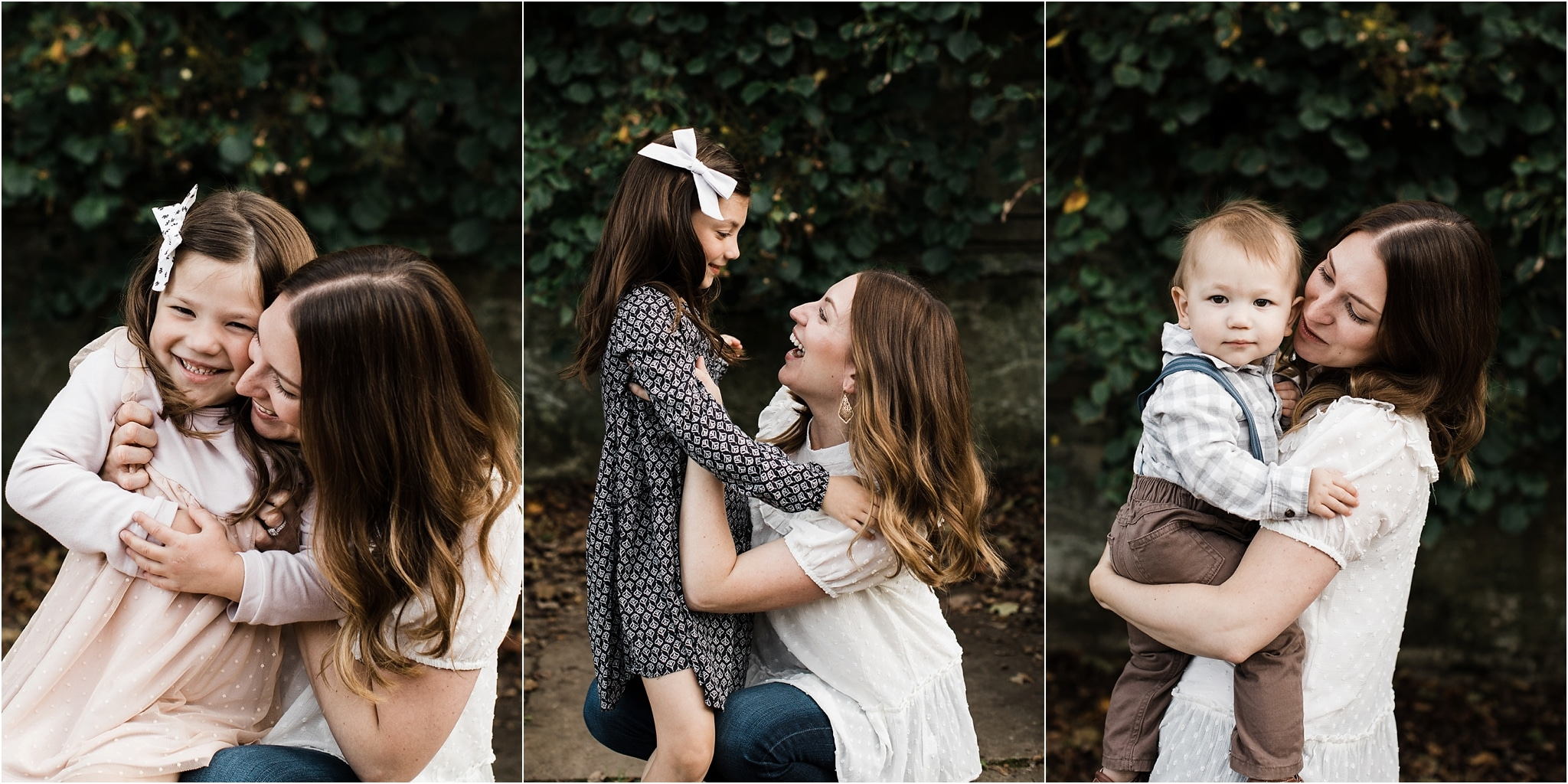 photos of a mother hugging and holding her children