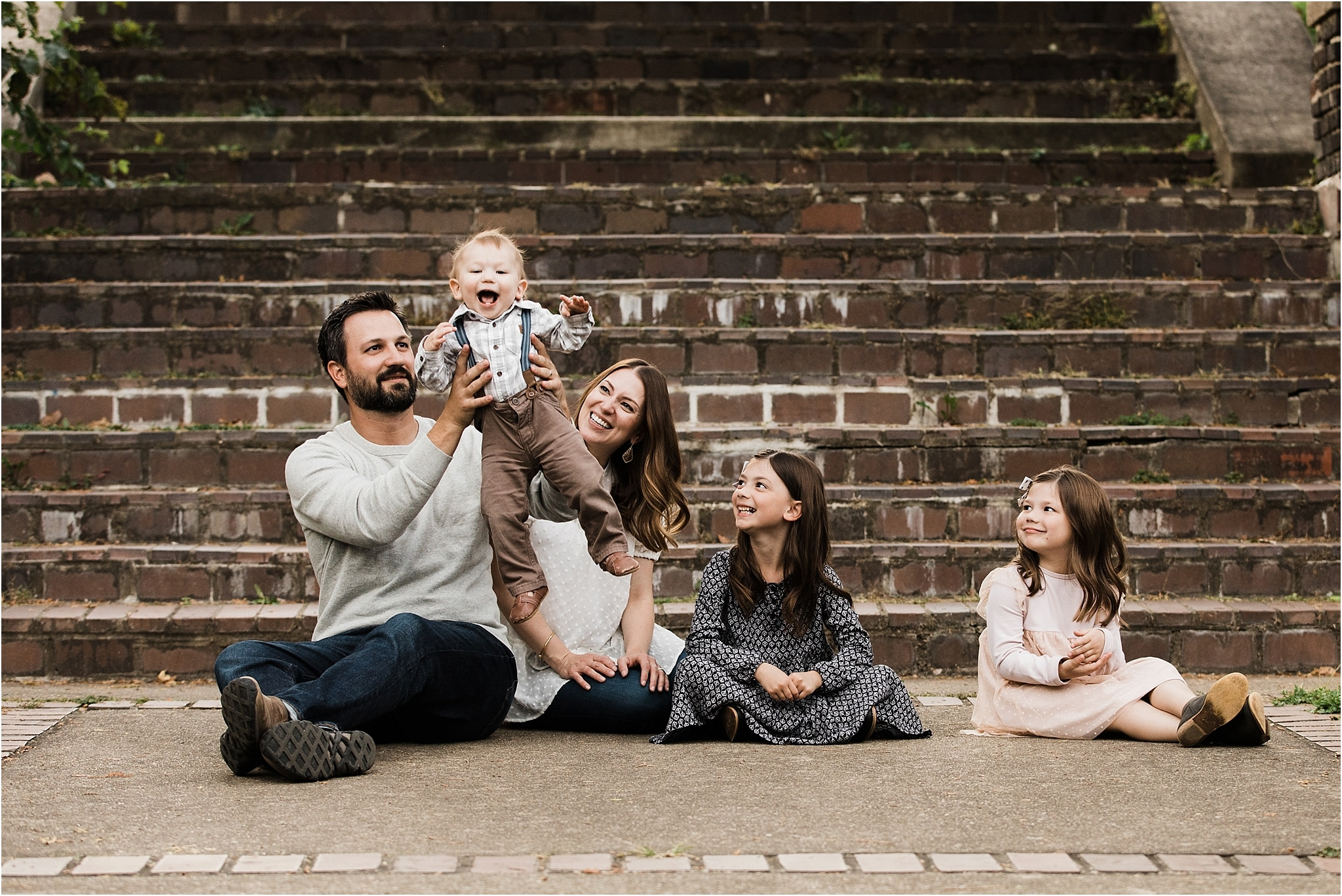 fun family of five portrait