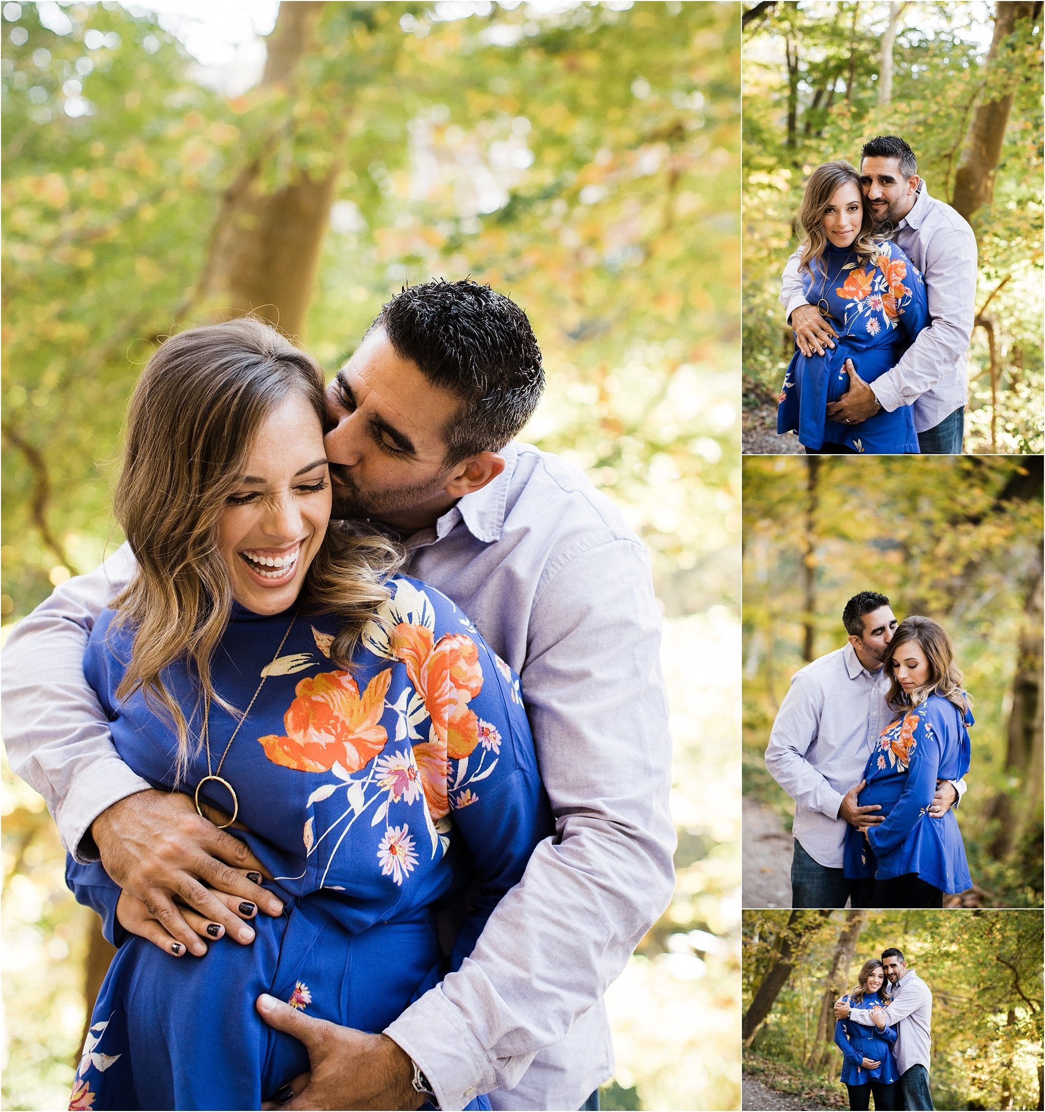 Fall maternity photos of happy couple in Schenley Park Pittsburgh