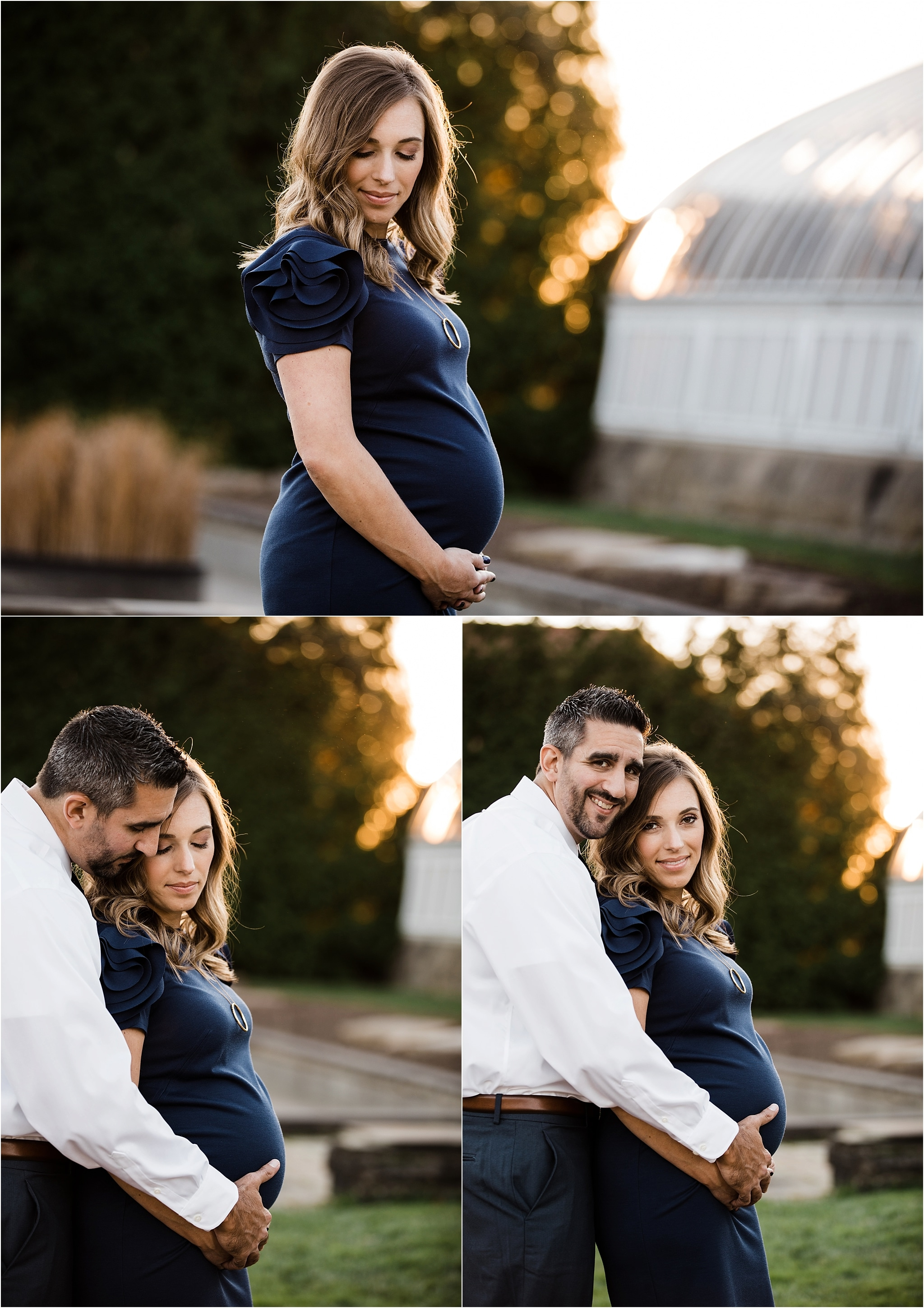 Couples golden hour maternity photos outside Phipps Conservatory Pittsburgh