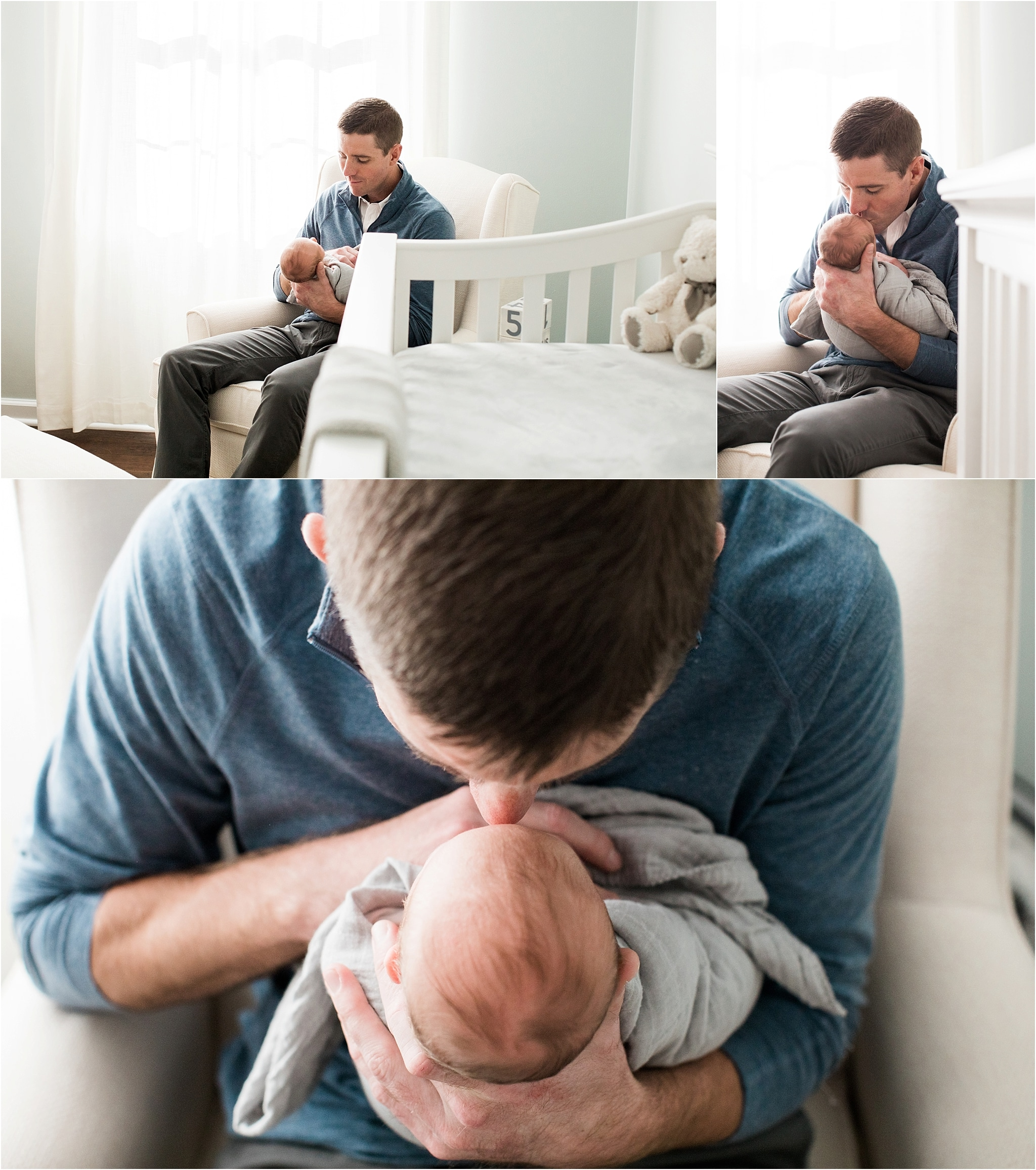 father holding son at in home newborn session