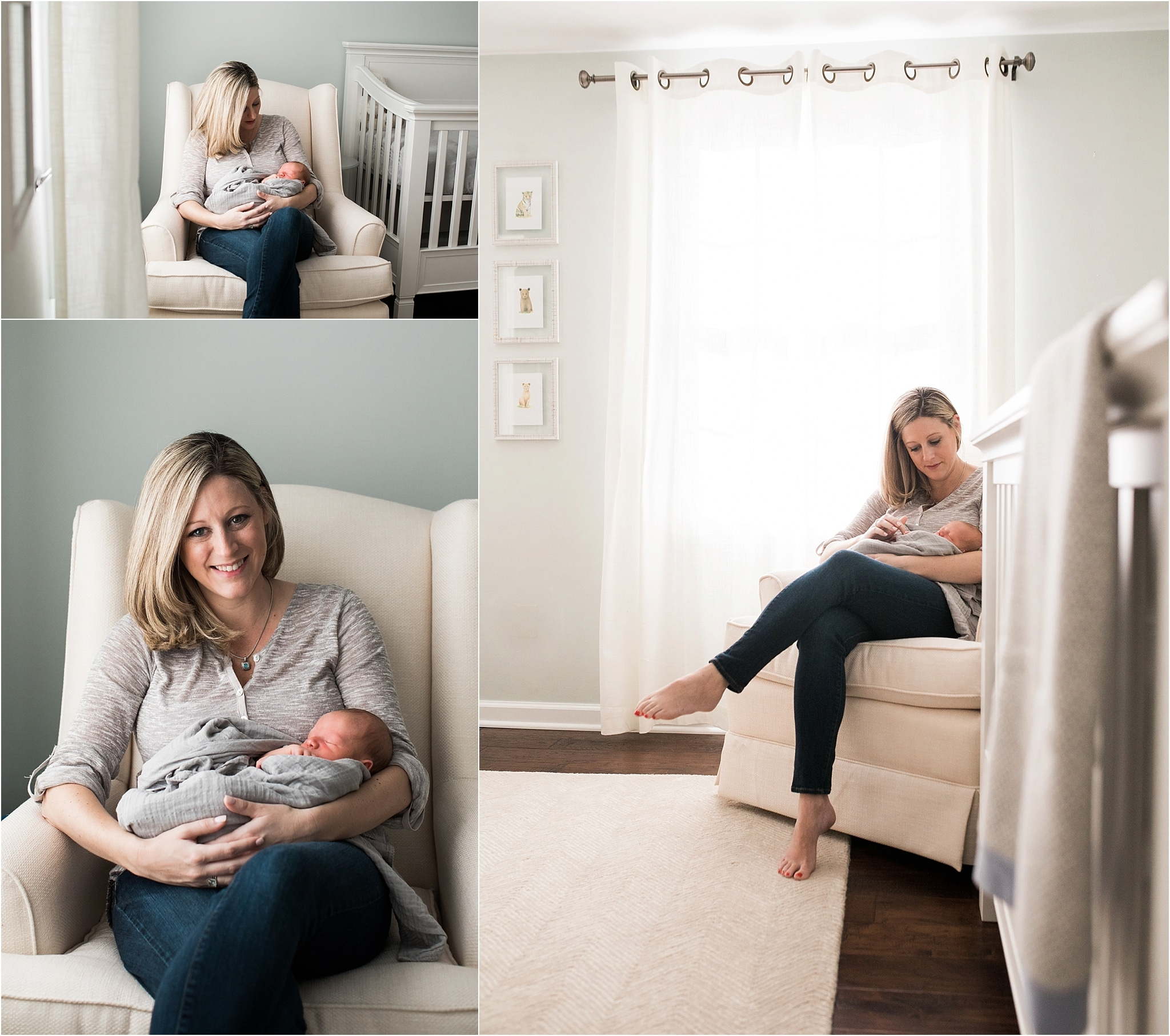 mother holding son at in home newborn session