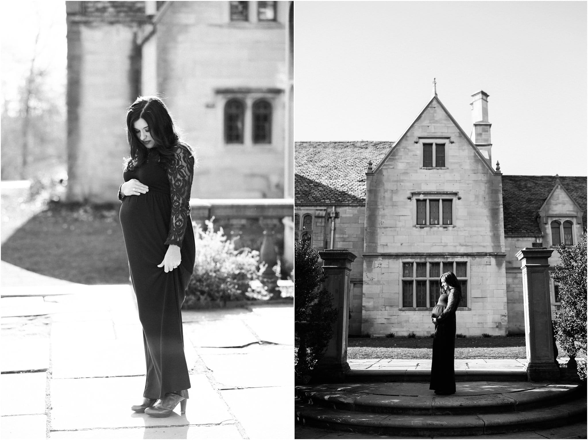 black and white maternity photos at hartwood acres