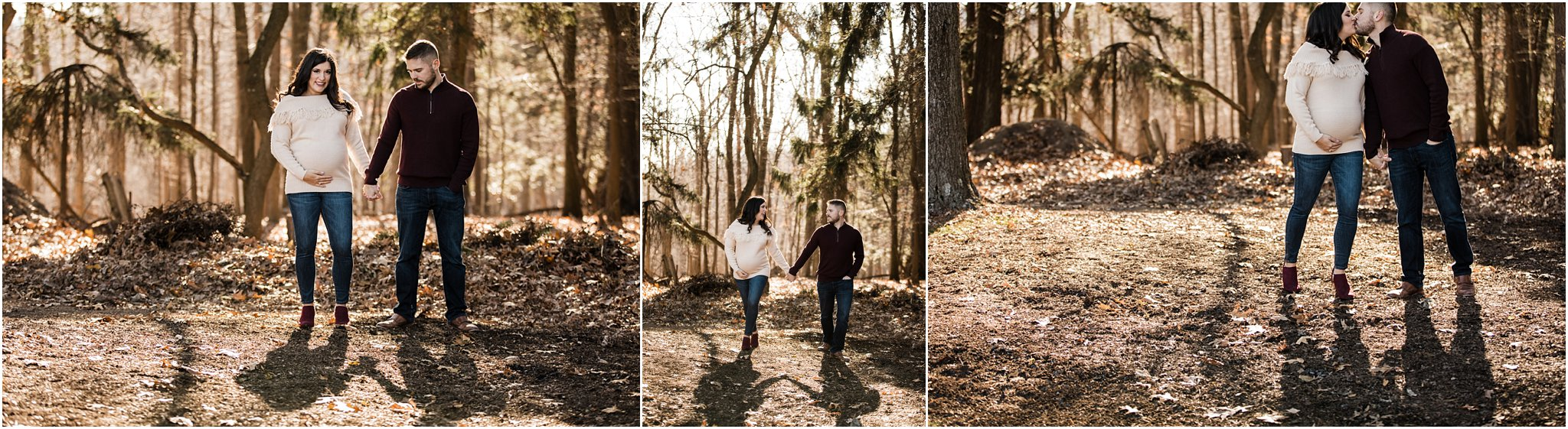 couple walking and laughing during maternity session