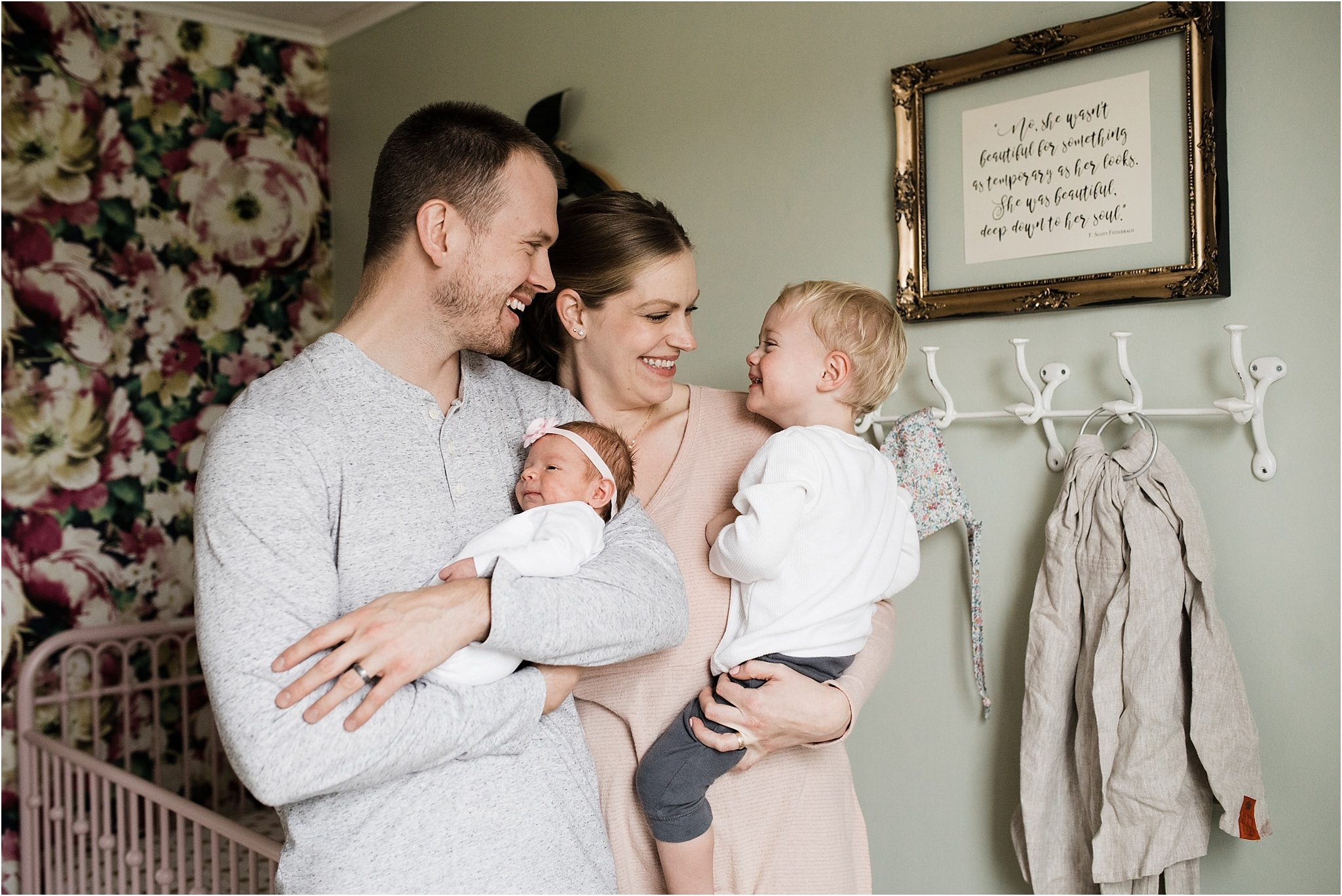 family photo during in home newborn session