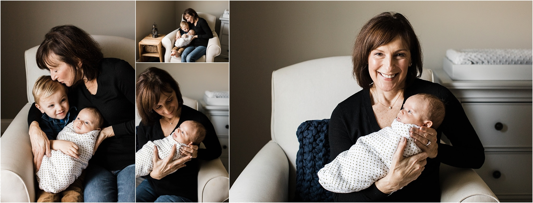 Grandma with her grandsons at in home newborn session
