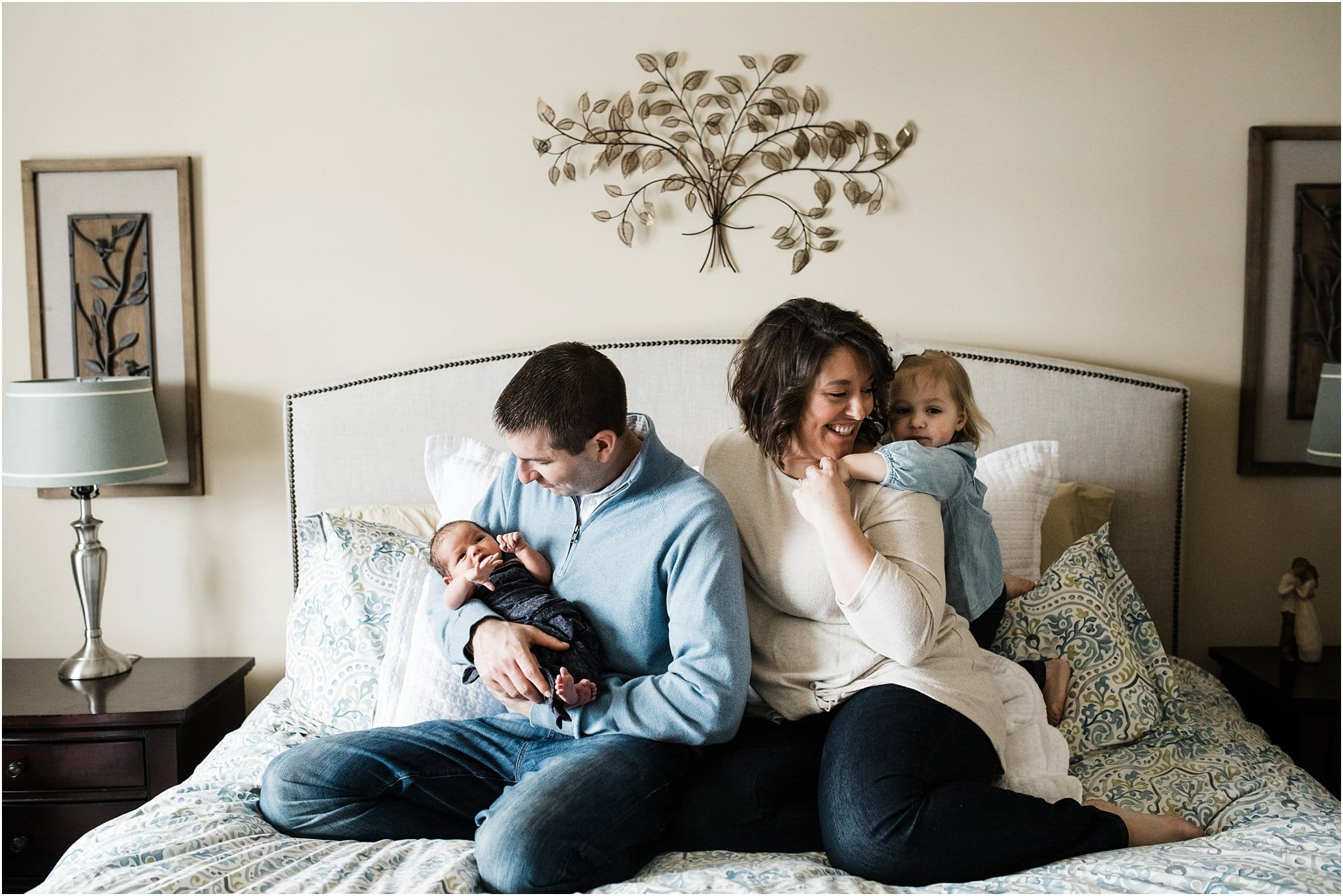 natural family photos during newborn session at home