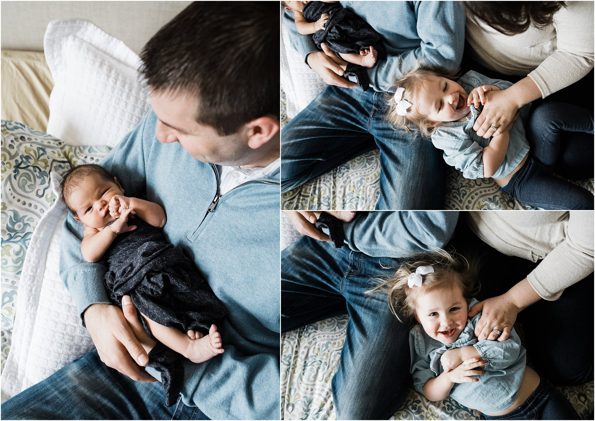 parents holding children on bed during newborn photo session
