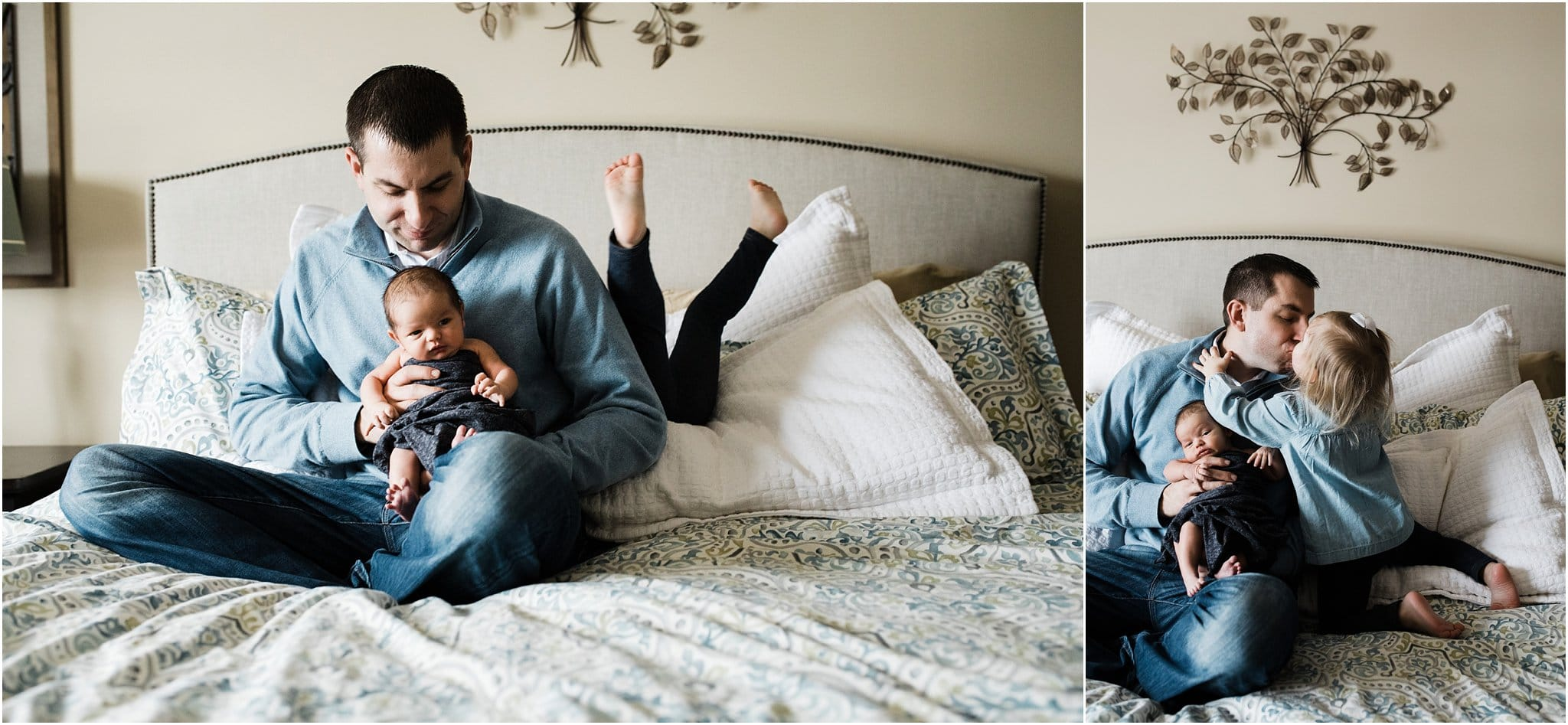 photos of father with newborn and toddler