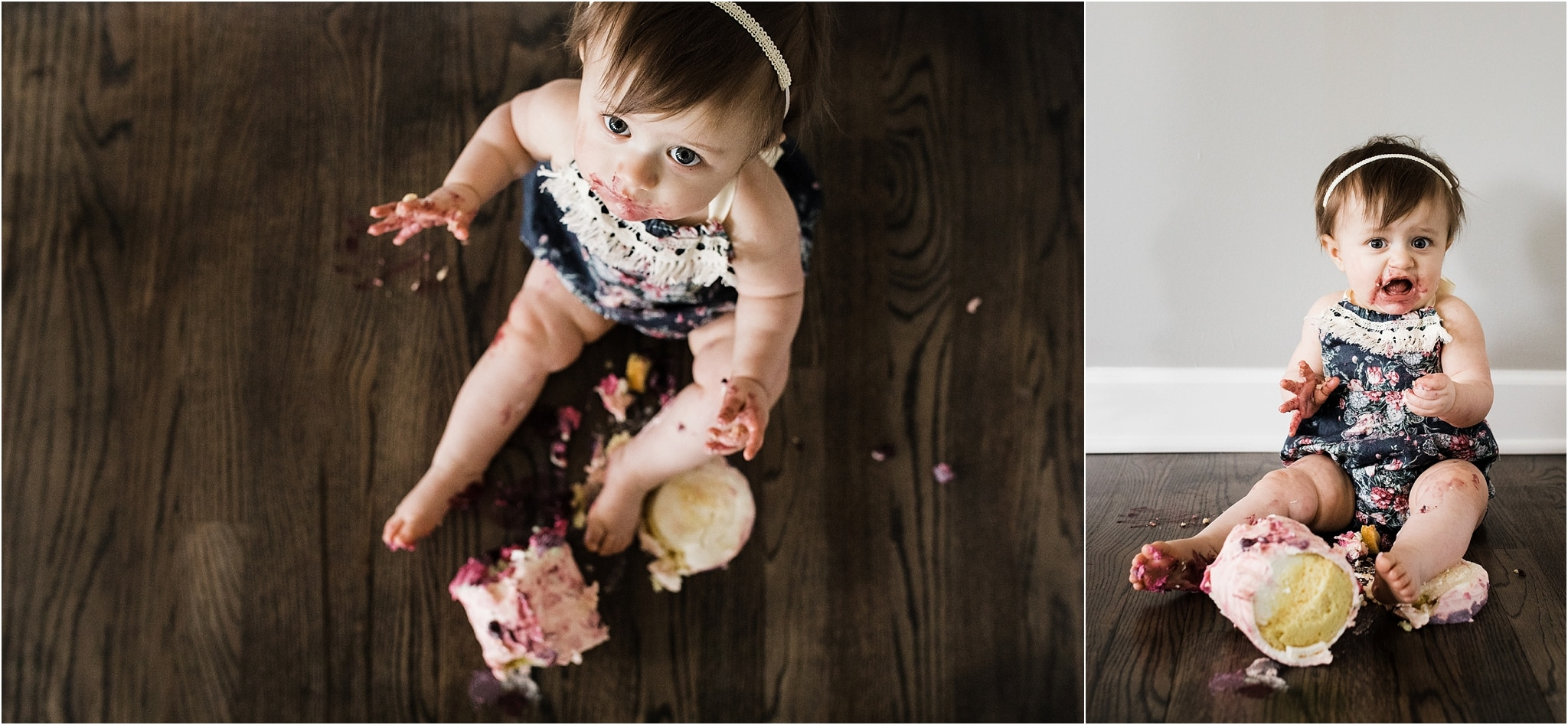 ONE YEAR OLD FLORAL SMASH CAKE AND ROMPER PHOTOS
