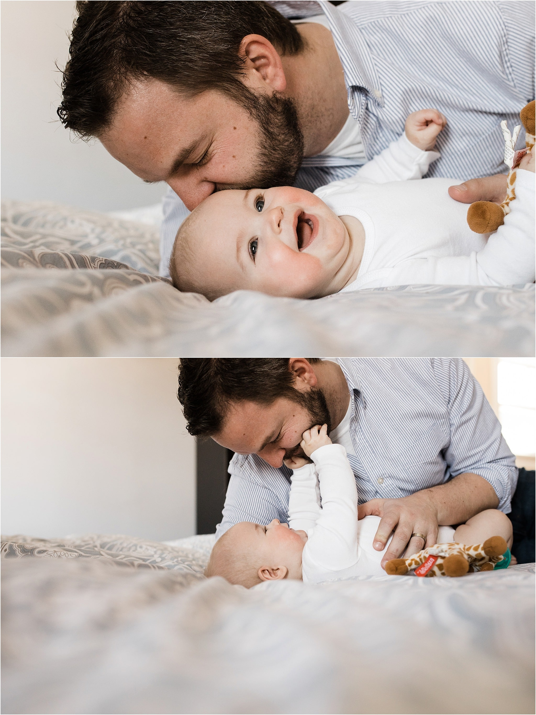 father kiss and laughing with 6 month old
