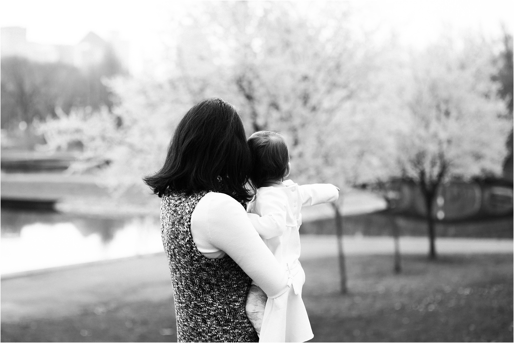 Mother and Daughter looking toward lake