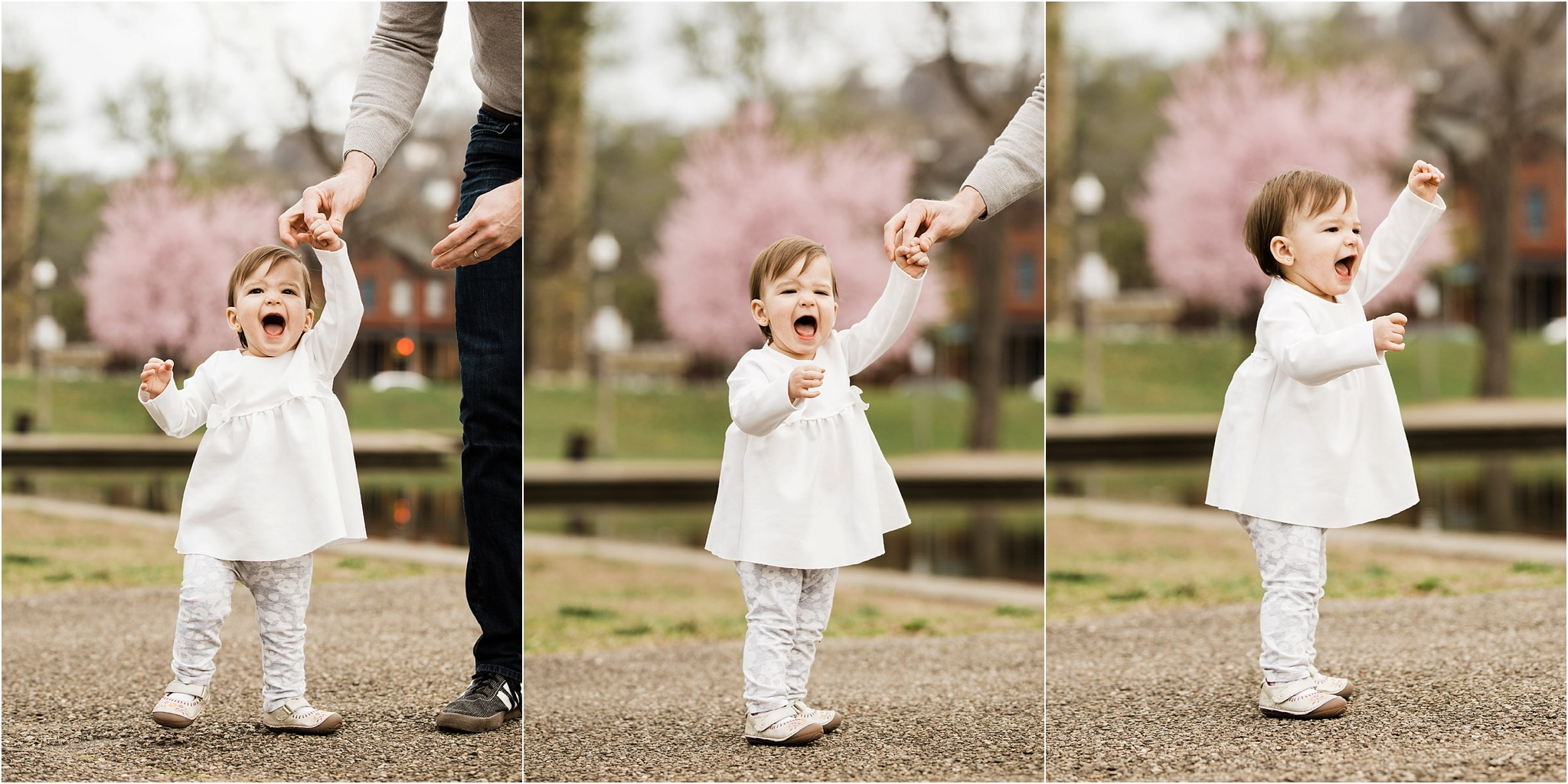 12 month old walking at Spring Family photos at West Park in Pittsburgh