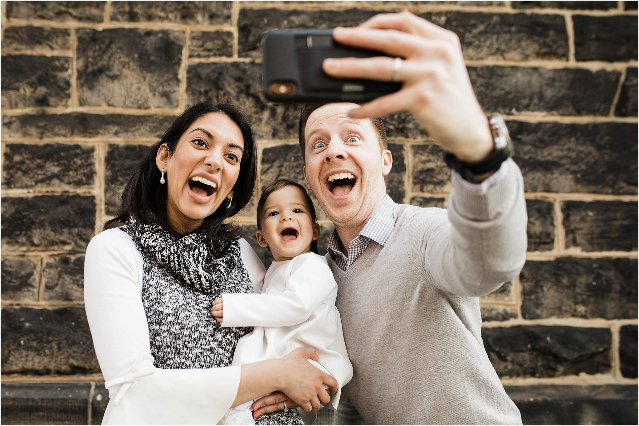 FAMILY SELFIE during photo session in Mexican War Streets Pittsburgh