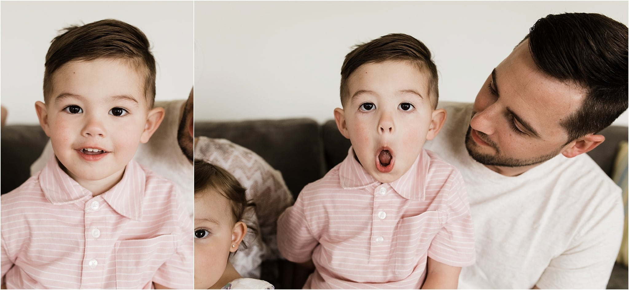 toddler boy being silly during family photos