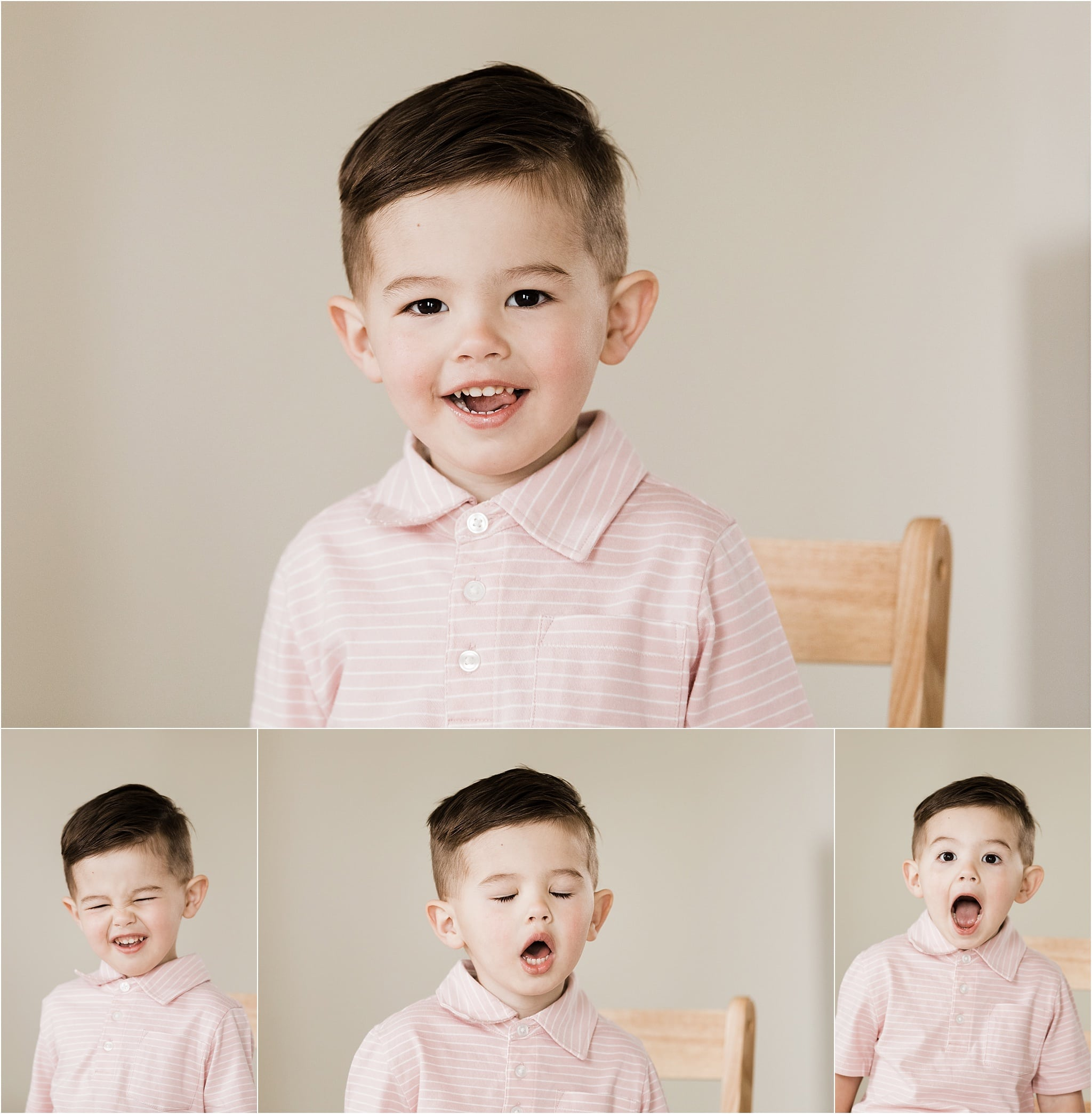 toddler boy smiling and making silly faces in photos at home